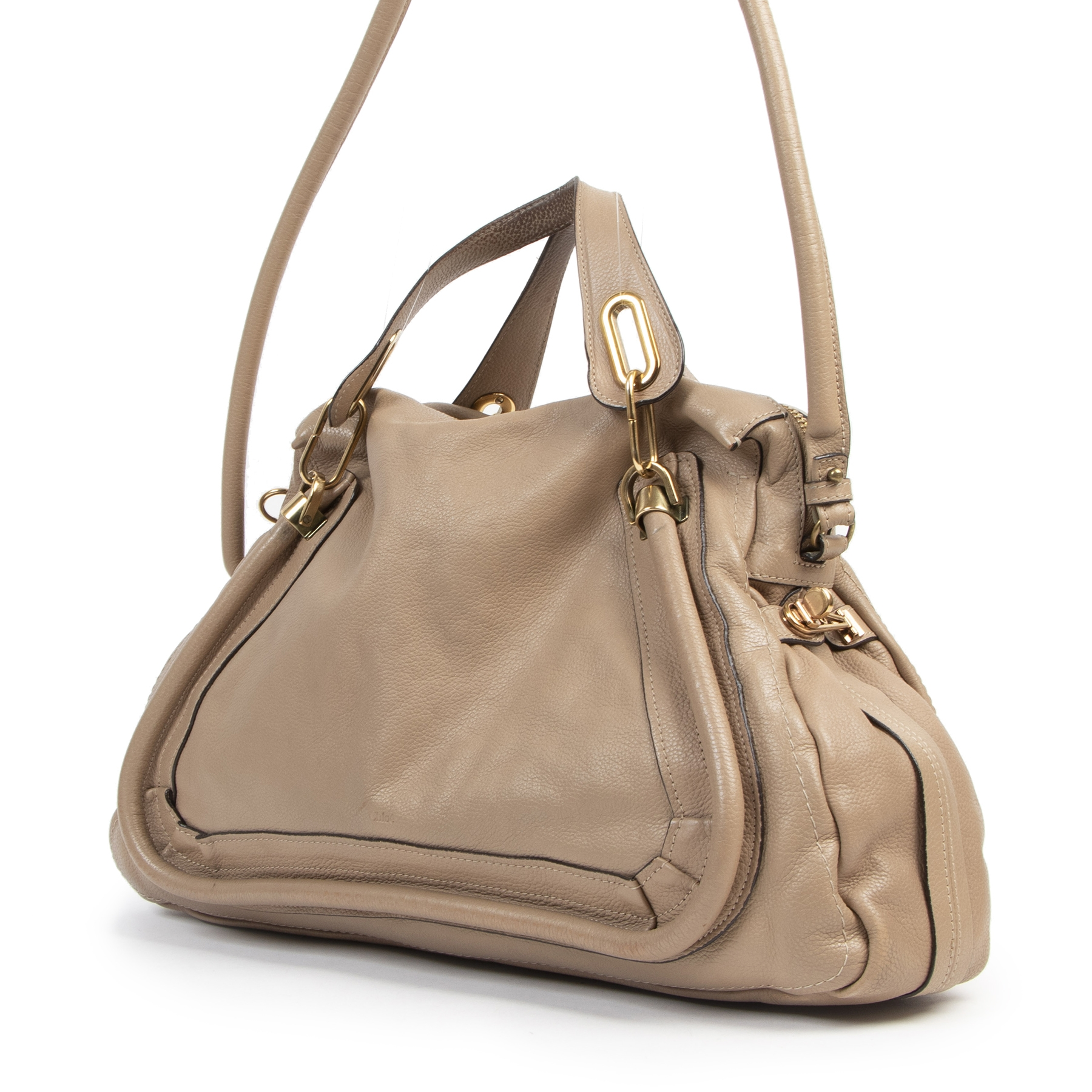 Buy and sell your authentic preloved Chloé Taupe Leather Paraty Bag