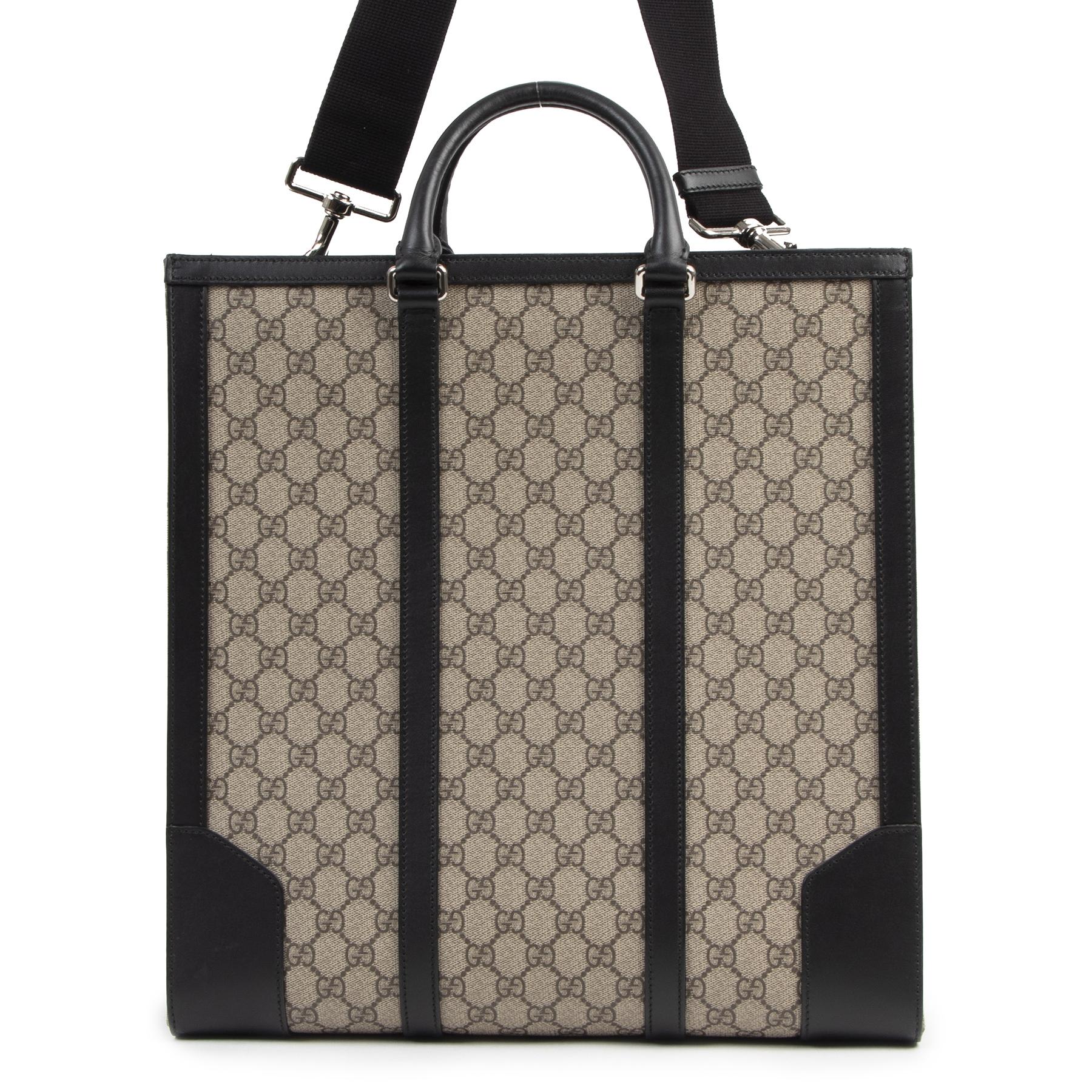 Authentieke Tweedehands Gucci GG Supreme Beige Tote Bag juiste prijs veilig online shoppen luxe merken webshop winkelen Antwerpen België mode fashion