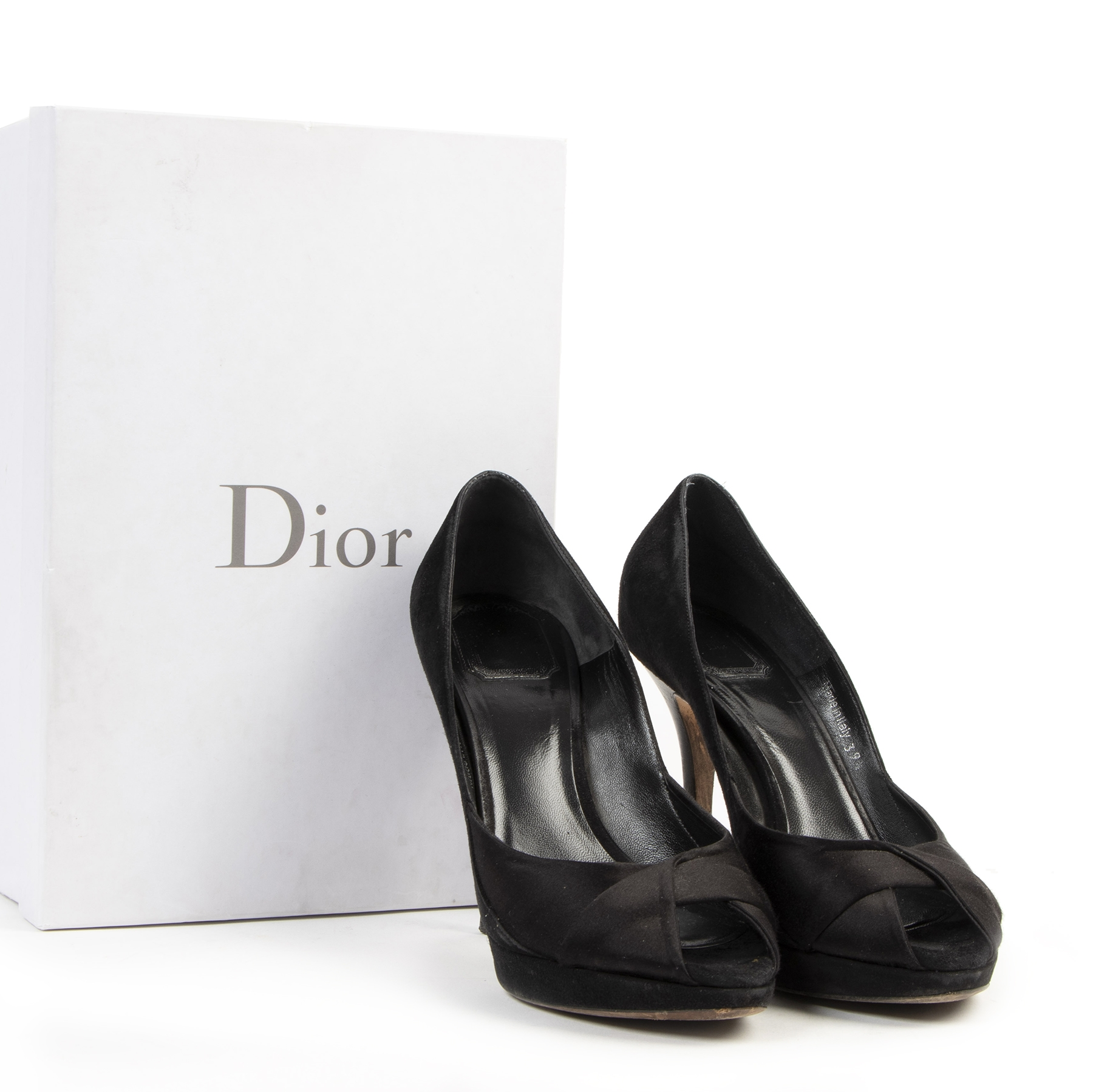 Authentic secondhand Dior Black Open Toe Heels - size 39,5 designer pumps shoes accessories fashion luxury vintage webshop safe secure online shopping wordwide shipping designer high end brands