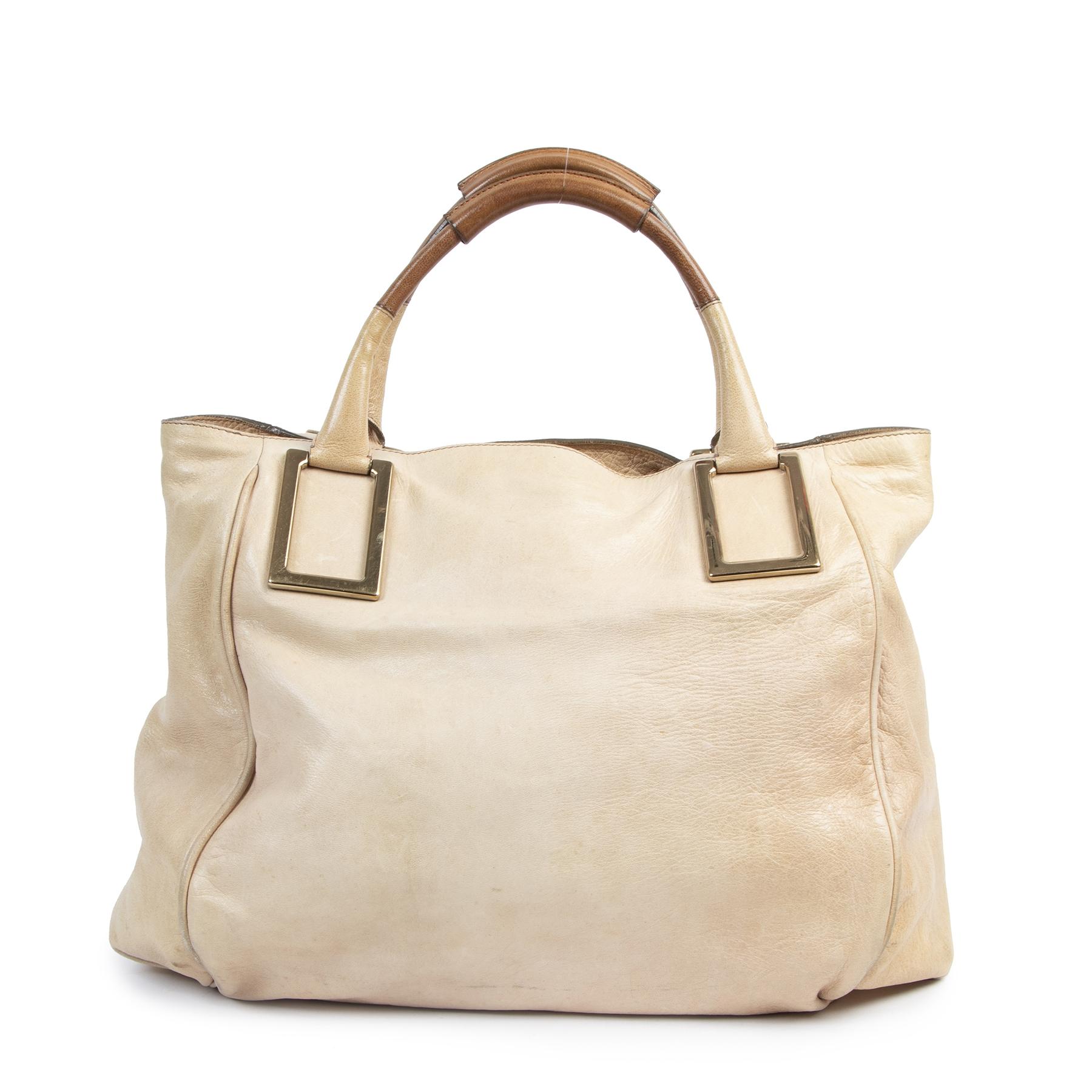 Authentieke Tweedehands Chloé Large Beige Shopping Bag juiste prijs veilig online shoppen luxe merken webshop winkelen Antwerpen België mode fashion
