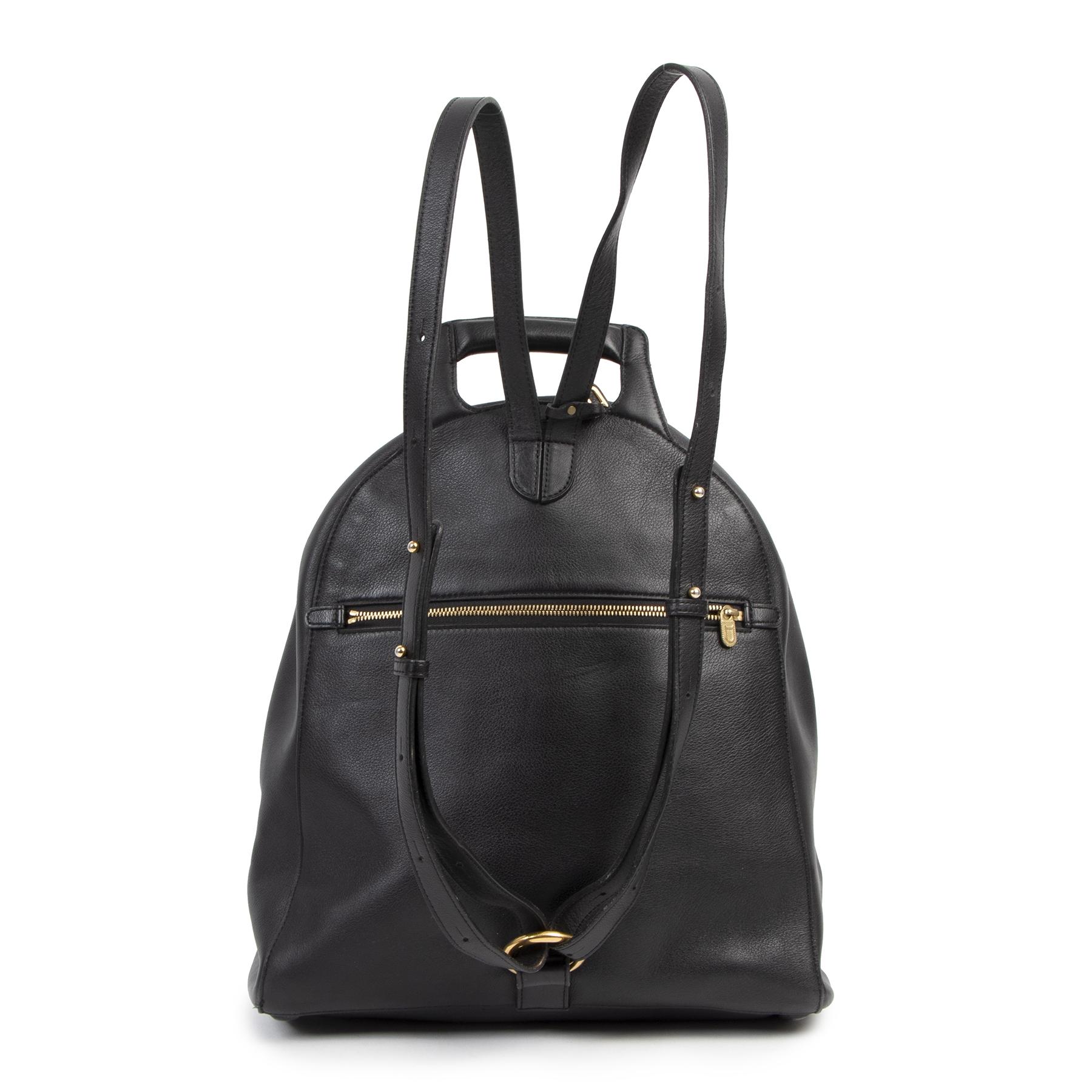 Authentieke Tweedehands Delvaux Black Leather Backpack juiste prijs veilig online shoppen luxe merken webshop winkelen Antwerpen België mode fashion