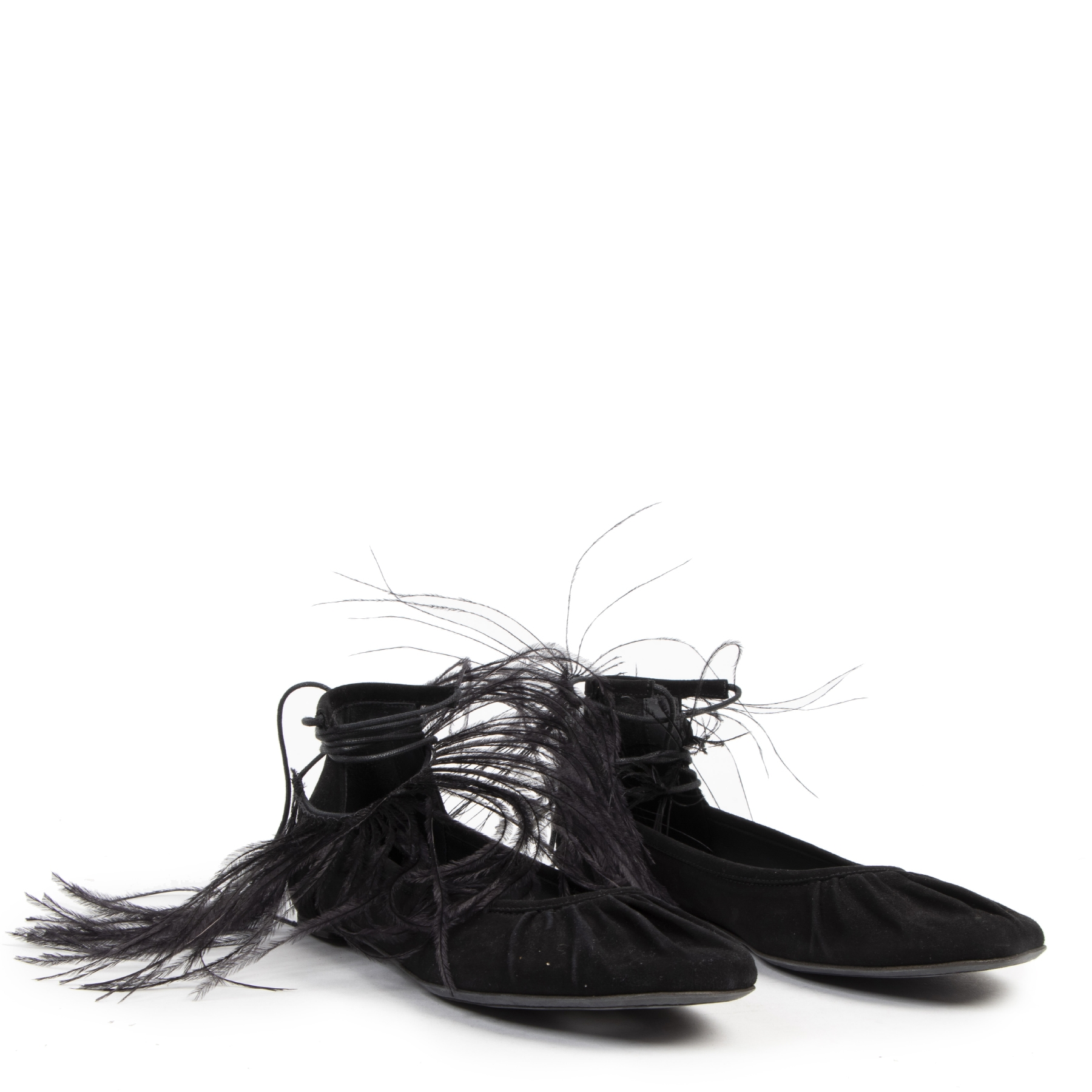 Authentic Secondhand Ann Demeulemeester Black Feather-trimmed Suede Flats - Size 38,5 designer shoes luxury vintage webshop fashion designer high end brands