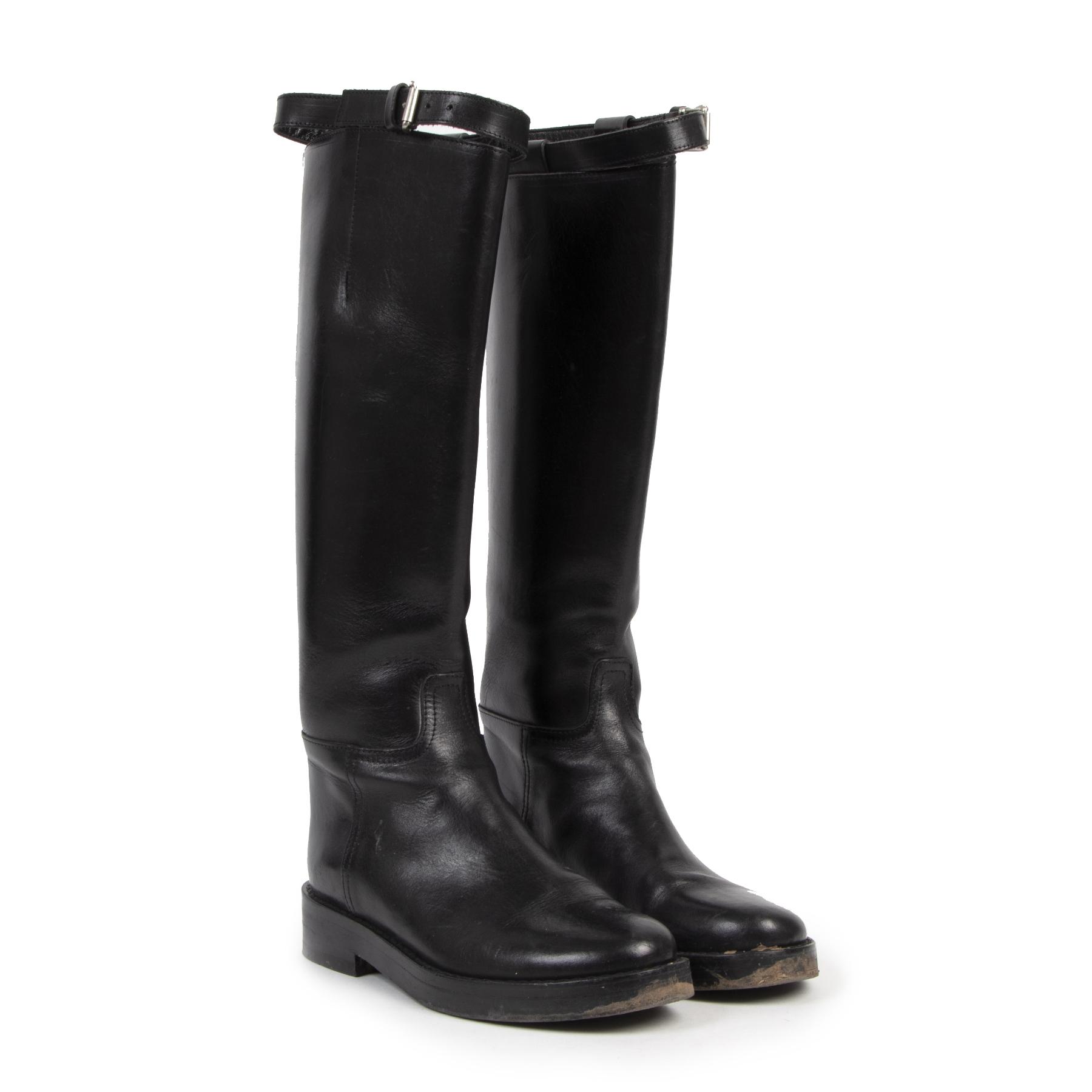 Authentieke tweedehands vintage Ann Demeulemeester Riding Boots Vitello Lucido Nero - Size 39 bij online webshop LabelLOV