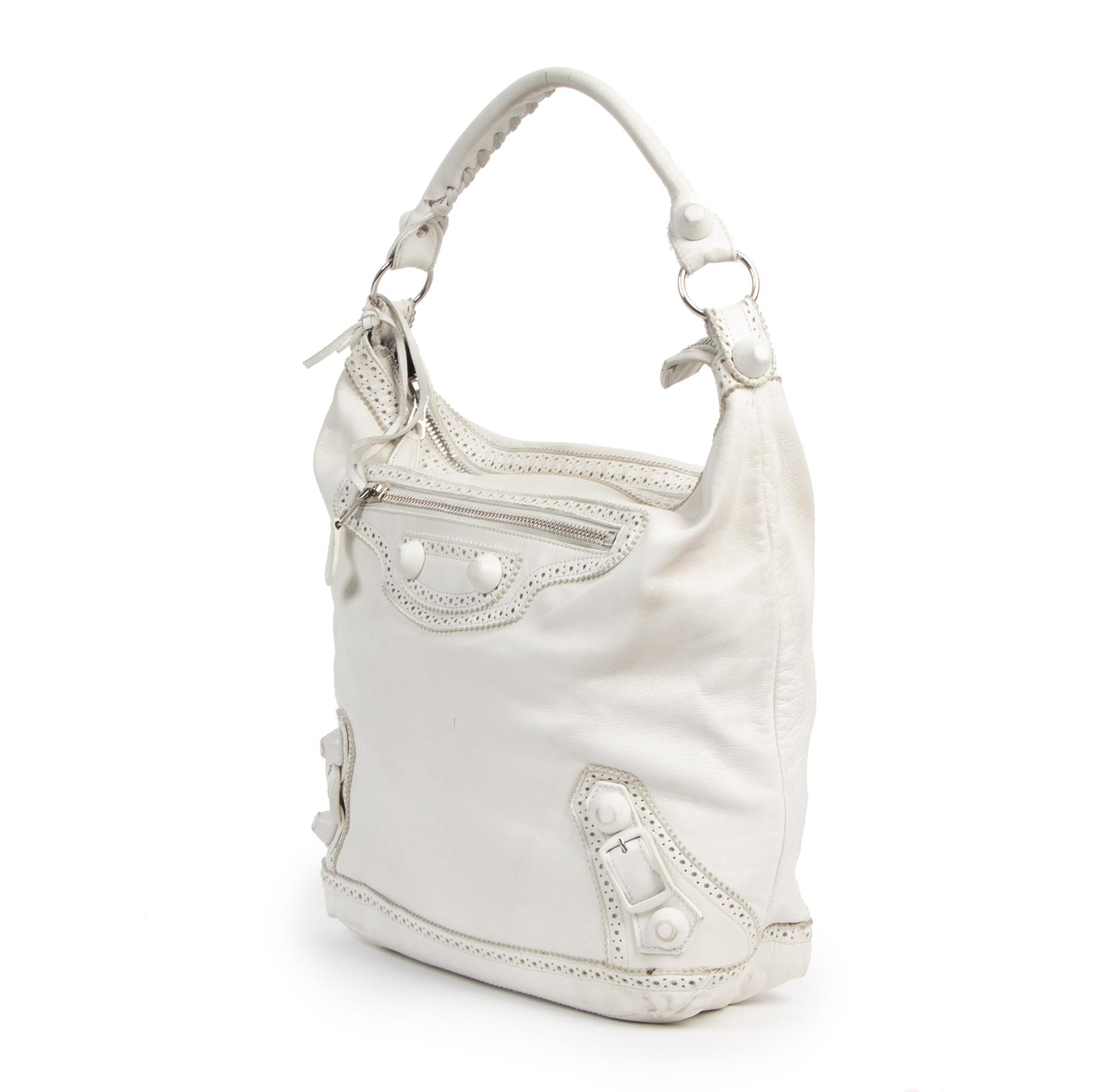 Authentic Secondhand Balenciaga White Giant Day Bag juiste prijs veilig online shoppen luxe merken webshop winkelen Antwerpen België mode fashion