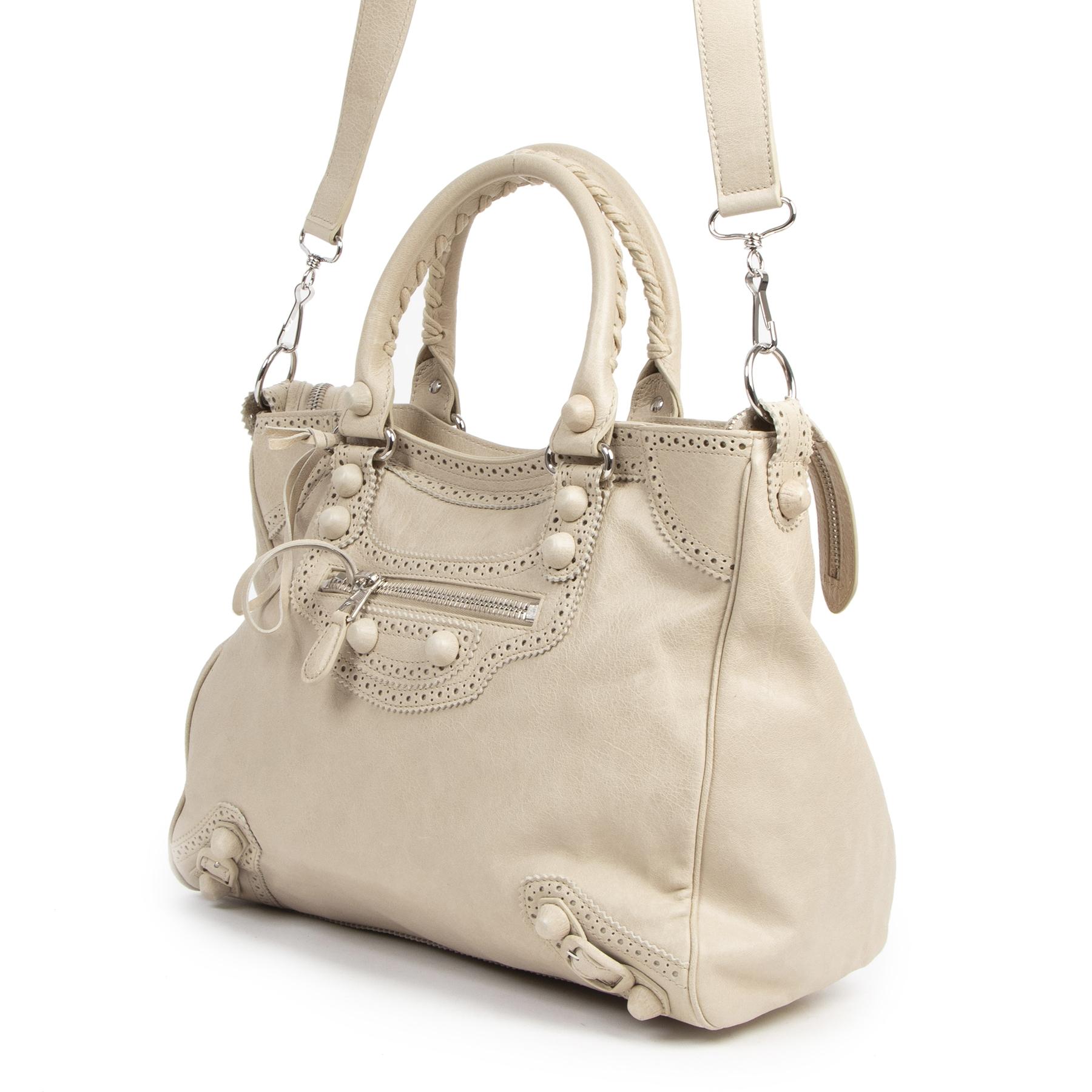 Authentic secondhand Balenciaga Velo Brogue Cream Leather Handbag designer bags fashion luxury vintage webshop safe secure online shopping designer high end brands