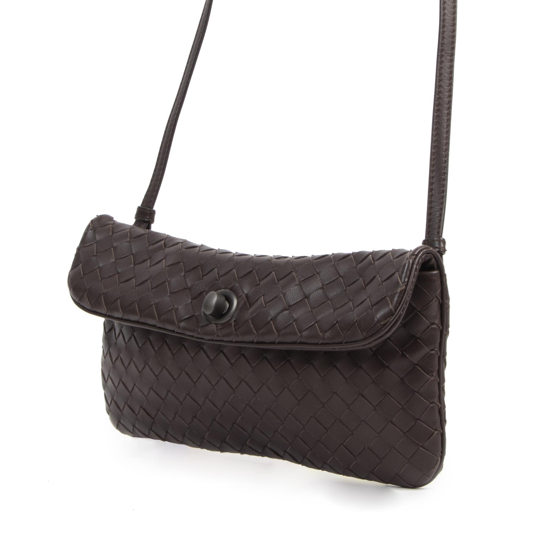 Authentieke Tweedehands Bottega Veneta Brown Woven Leather Crossbody Bag juiste prijs veilig online shoppen luxe merken webshop winkelen Antwerpen België mode fashion