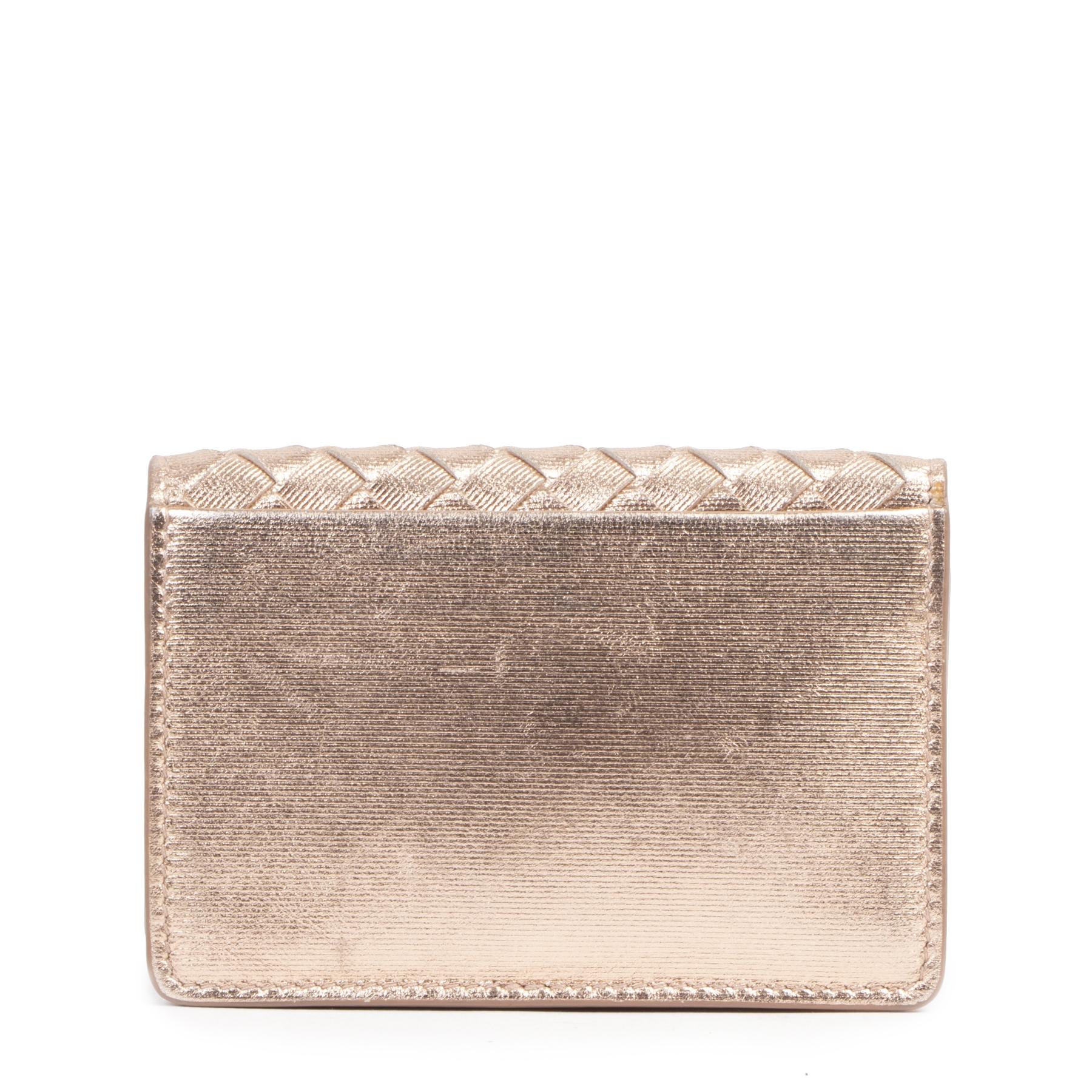Authentieke Tweedehands Bottega Veneta Rose Gold Leather Card Holder juiste prijs veilig online shoppen luxe merken webshop winkelen Antwerpen België mode fashion