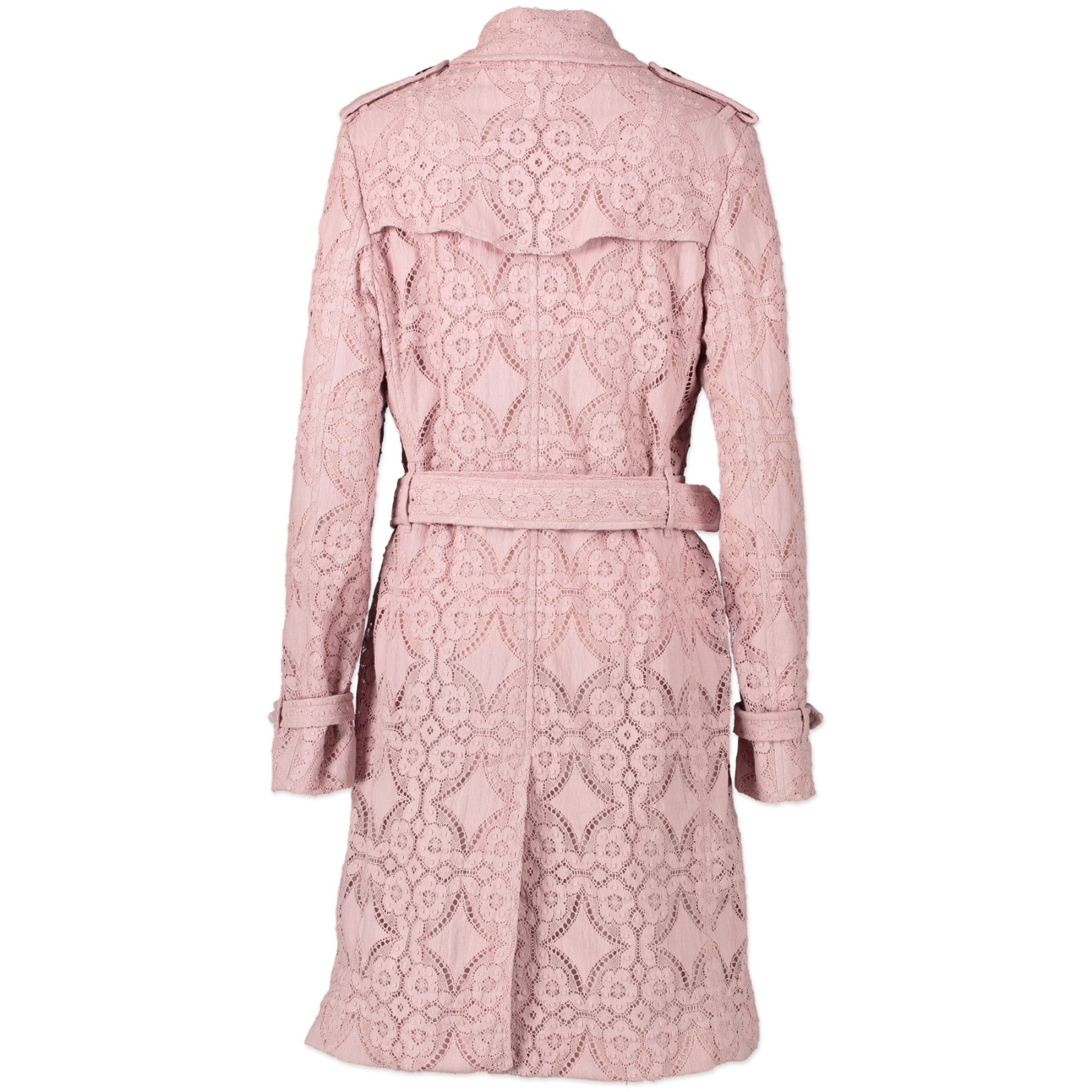 Authentic secondhand Burberry Pale Pink Macrame Lace Trench Coat - Size IT44 designer clothing accessories luxury vintage webshop high end brands
