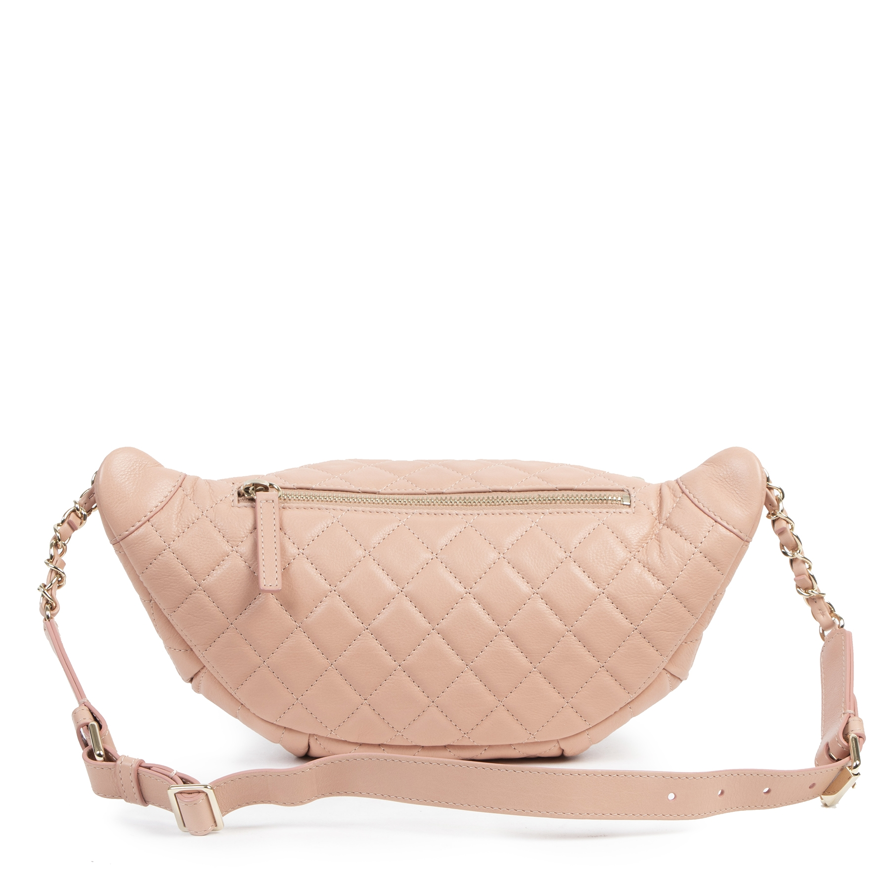 Authentic secondhand Chanel Dusty Pink Belt Bag designer bags fashion luxury vintage webshop safe secure online shopping designer high end brands