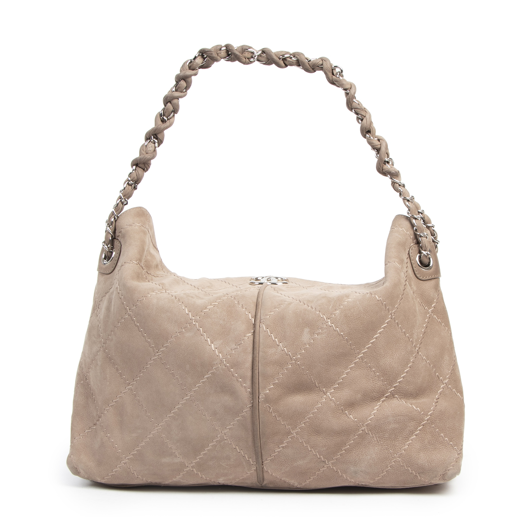 Authentique seconde-main vintage Chanel Taupe Nubuck Shoulder Bag achète en ligne webshop LabelLOV