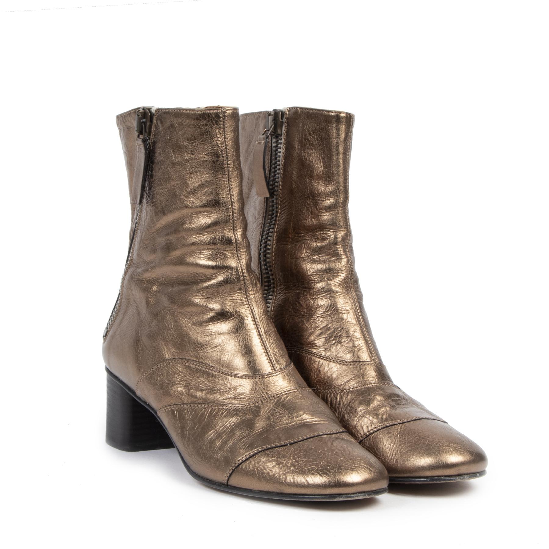 Authentique seconde-main vintage Chloé Bronze Lexie Ankle Boots - Size 39 achète en ligne webshop LabelLOV