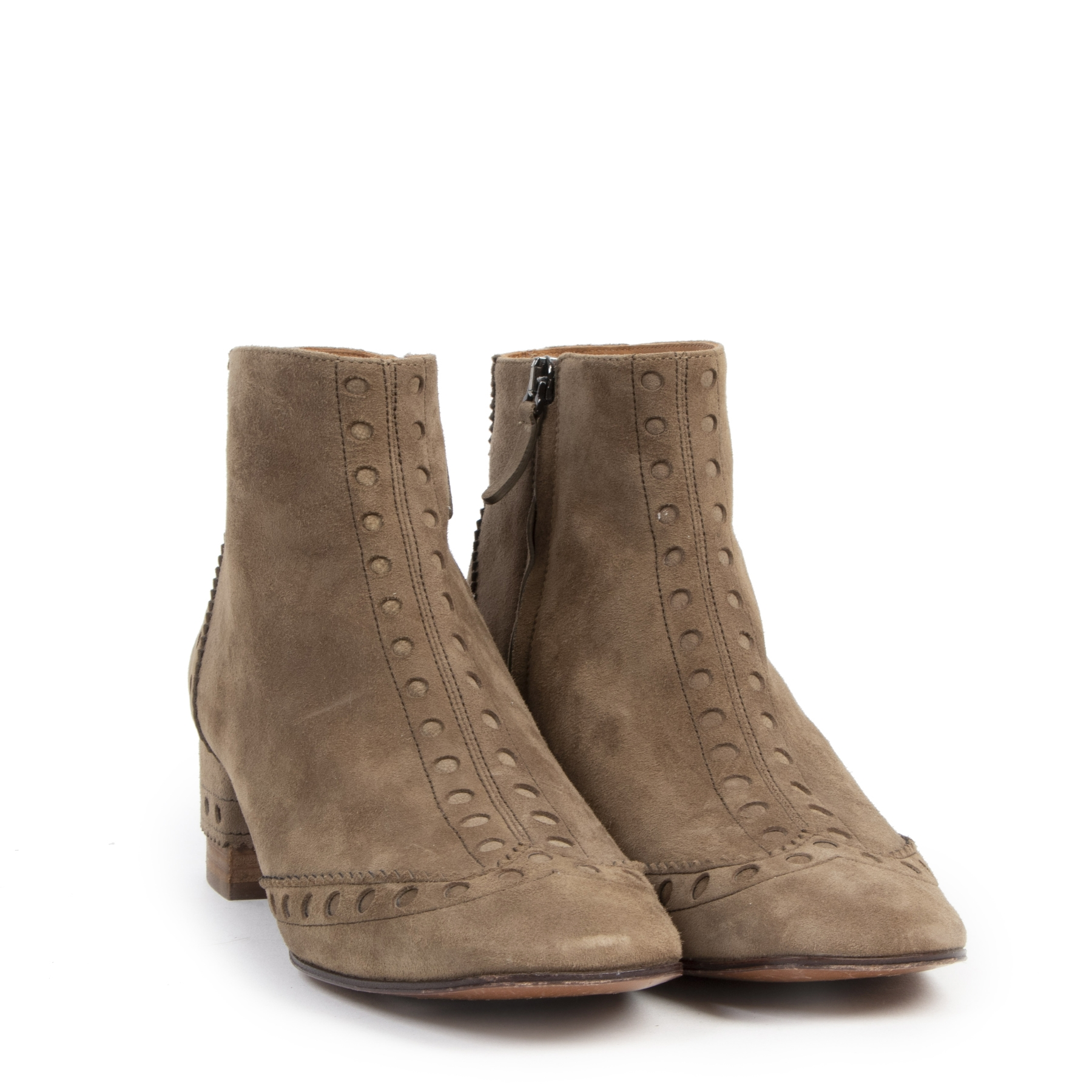 Authentic Secondhand Chloé Perry Suede Ankle Boots - Size 38,5 designer shoes luxury vintage webshop fashion safe secure online shopping designer high end brands