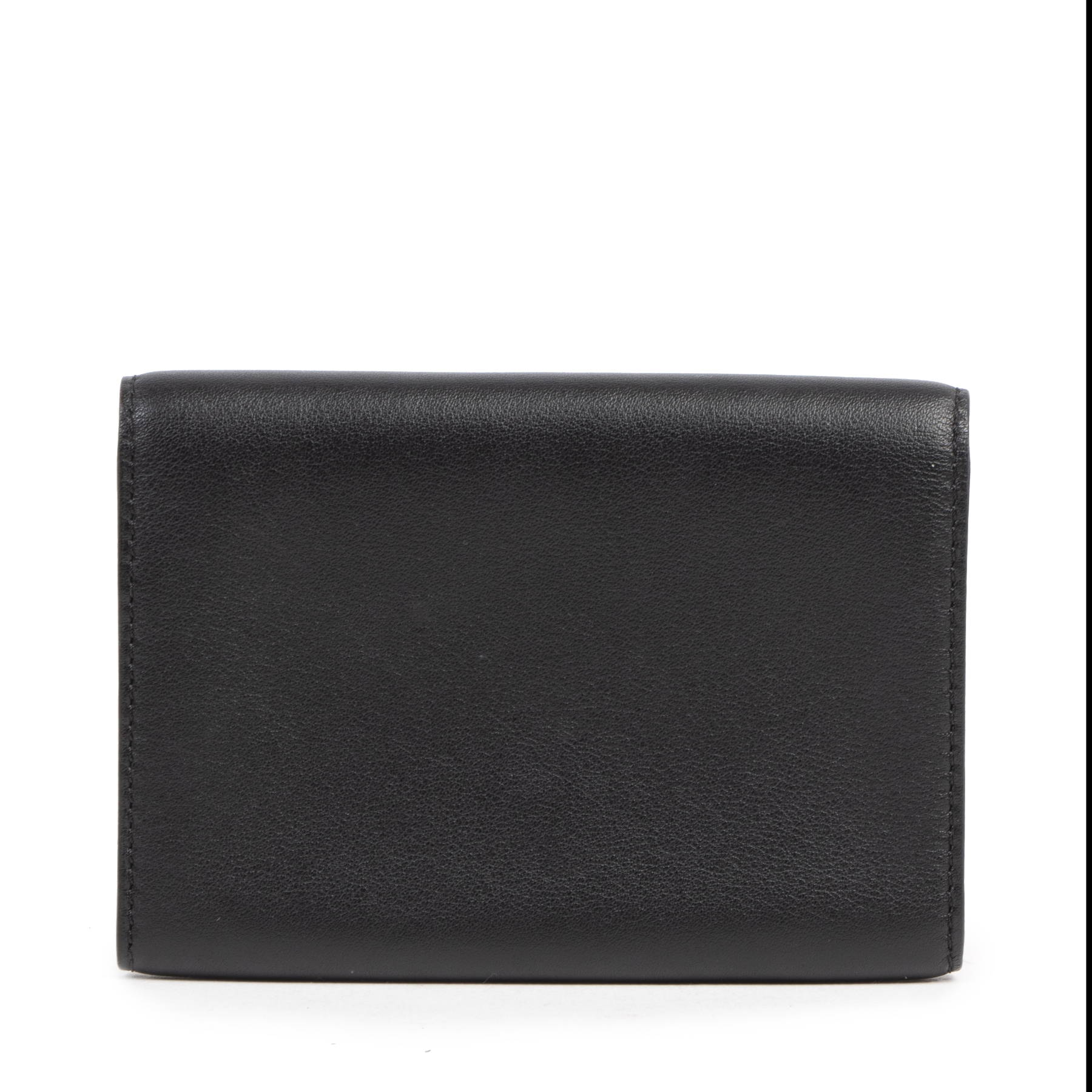 Authentieke tweedehands vintage Delvaux Black Leather Card Holder bij online webshop LabelLOV