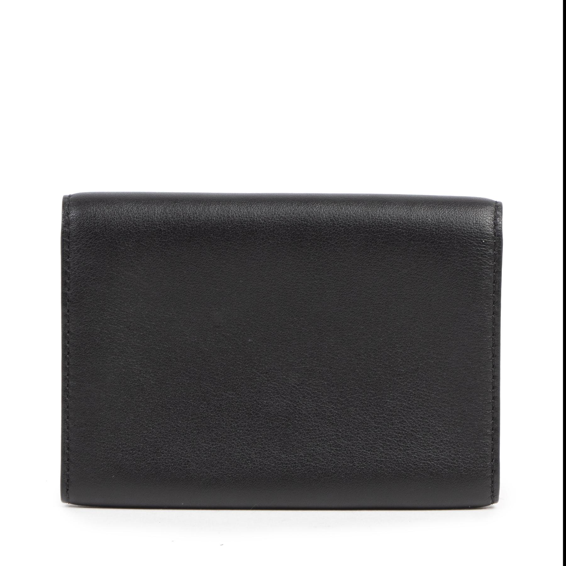 Authentieke tweedehands vintage Delvaux Black Leather Card Holder bij online webshop LabelLOV