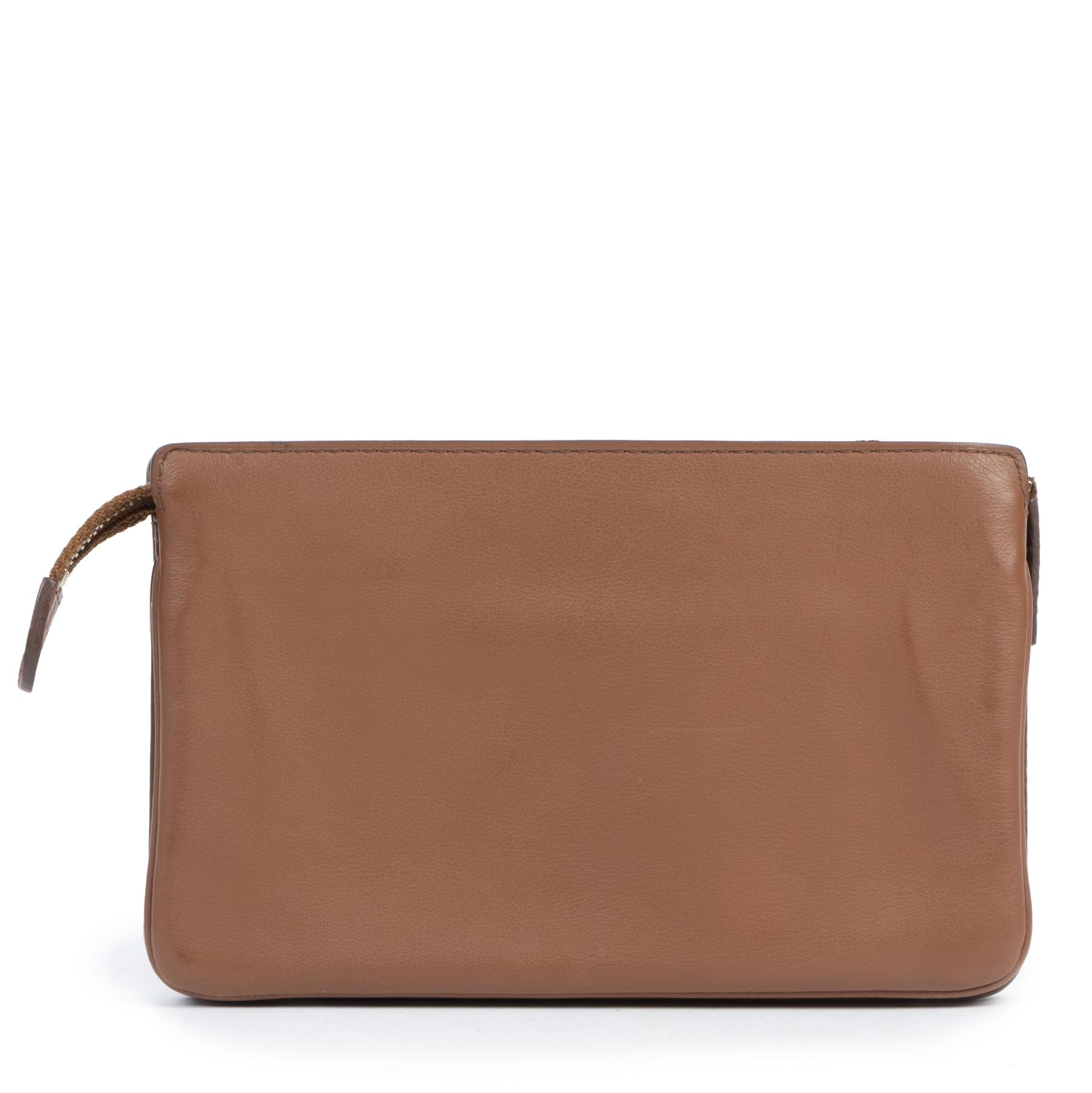 Authentieke tweedehands vintage Delvaux Cognac Leather Wallet koop online webshop LabelLOV