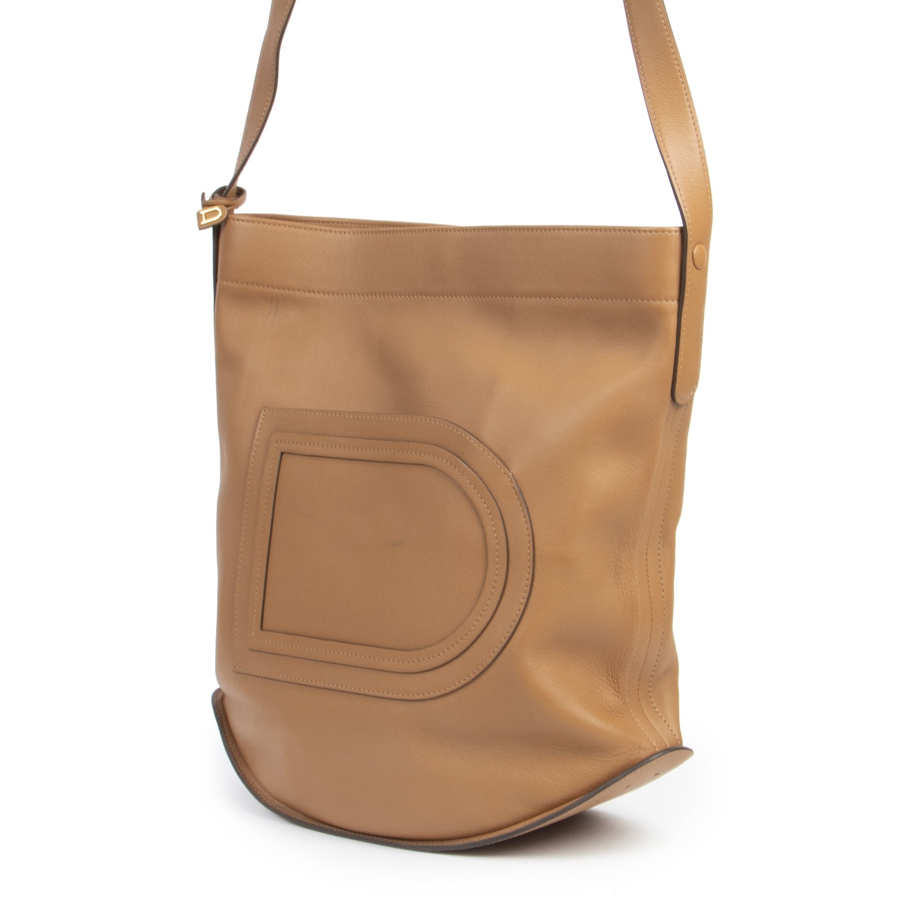 Authentieke tweedehands vintage Delvaux Camel Pin Shoulder Bag koop online webshop LabelLOV