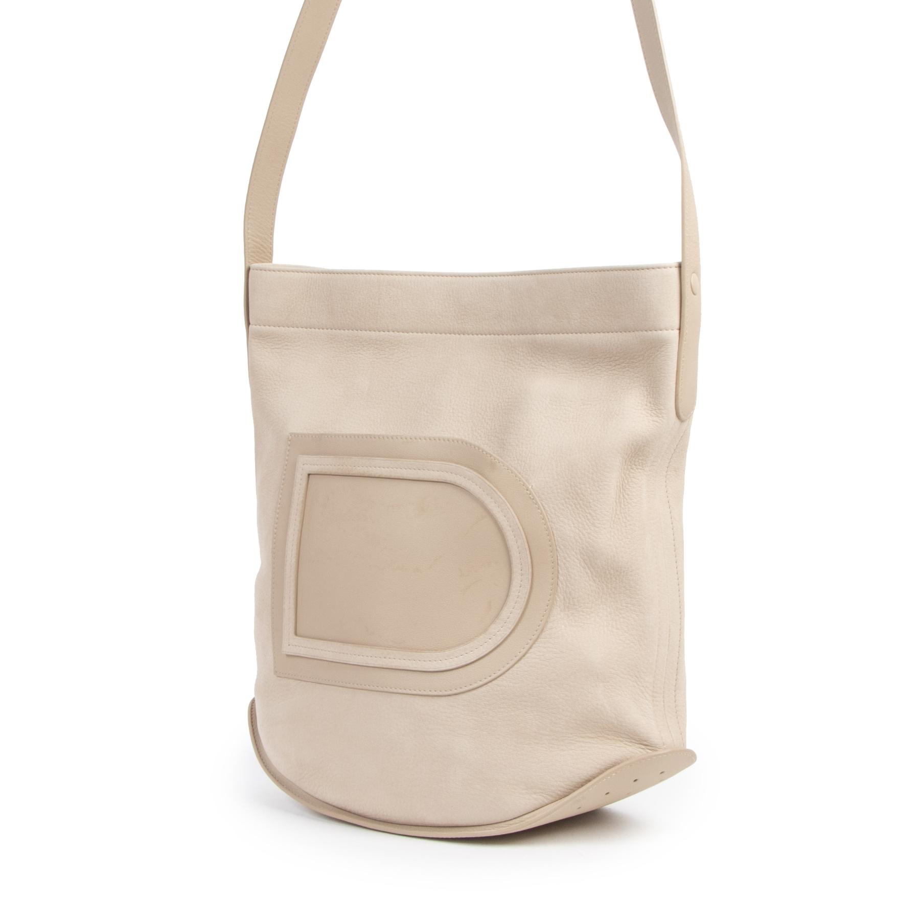 Authentieke Tweedehands Delvaux Cream Le Pin Leather Bag juiste prijs veilig online shoppen luxe merken webshop winkelen Antwerpen België mode fashion