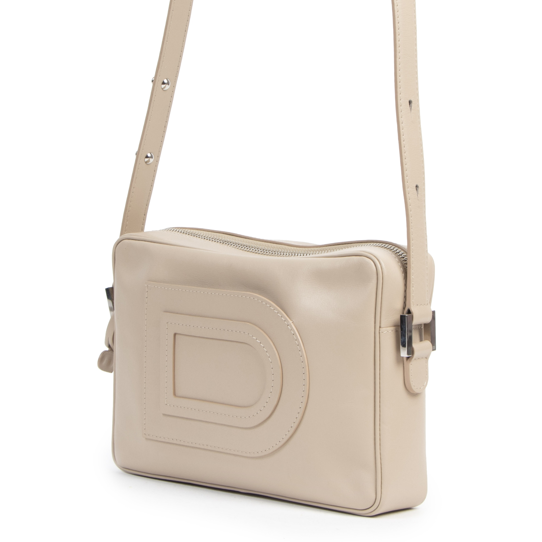 Authentic second-hand vintage Delvaux Louise Cross Over Dusty Pink Camera Bag buy online webshop LabelLOV