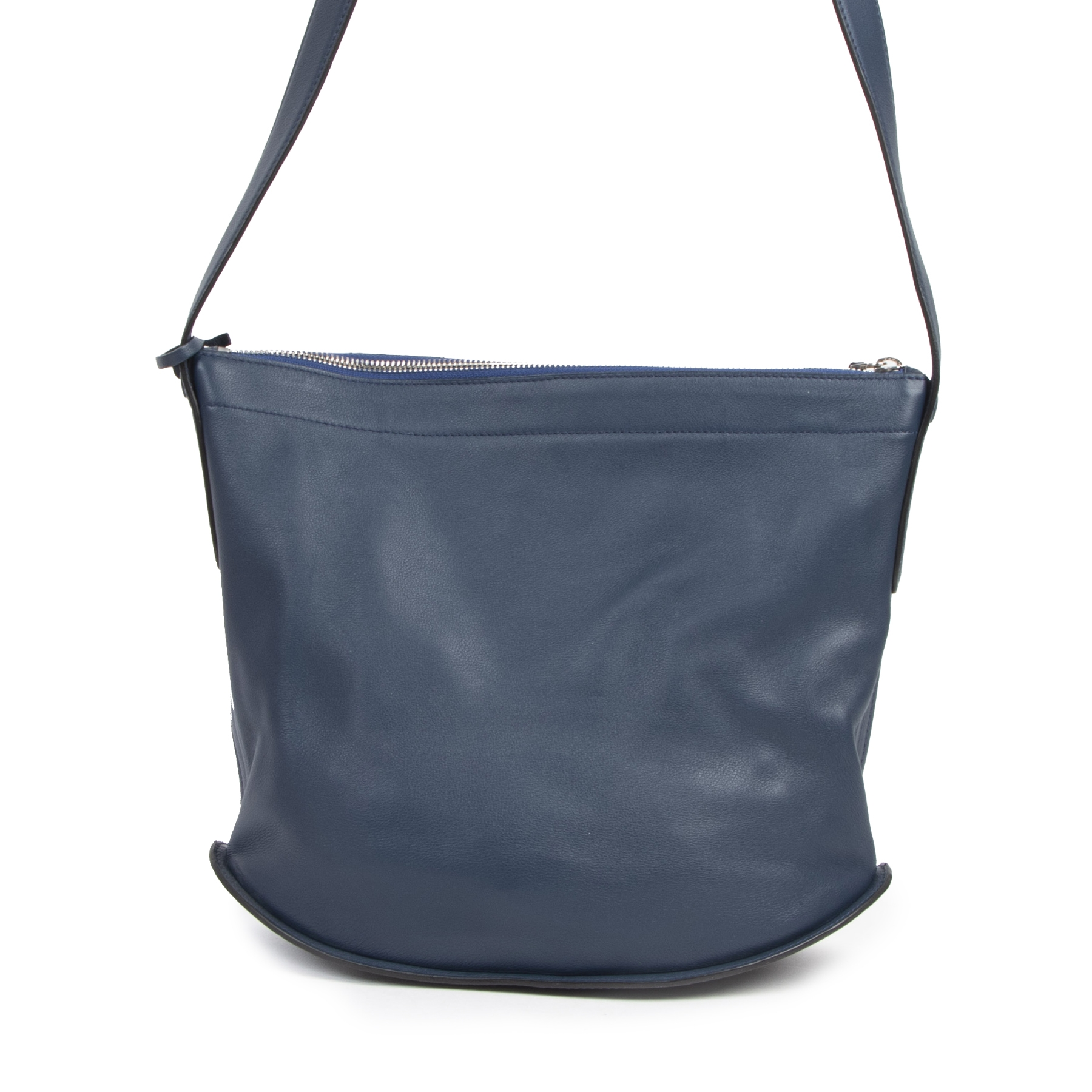 Authentieke tweedehands vintage Delvaux Navy Le Pin Bag koop online webshop LabelLOV