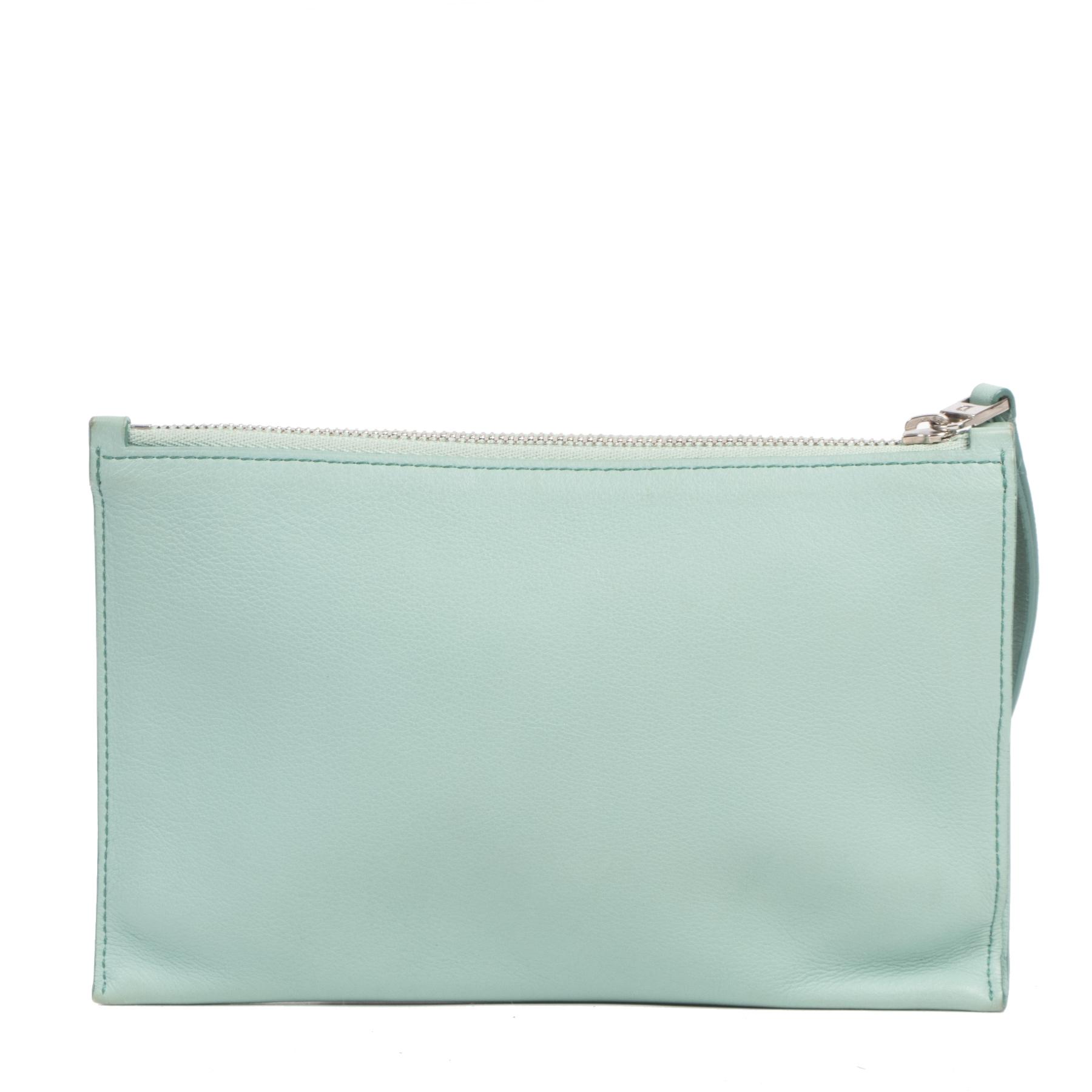 Authentieke Tweedehands Delvaux Mint Blue Zip Wallet Pouch juiste prijs veilig online shoppen luxe merken webshop winkelen Antwerpen België mode fashion