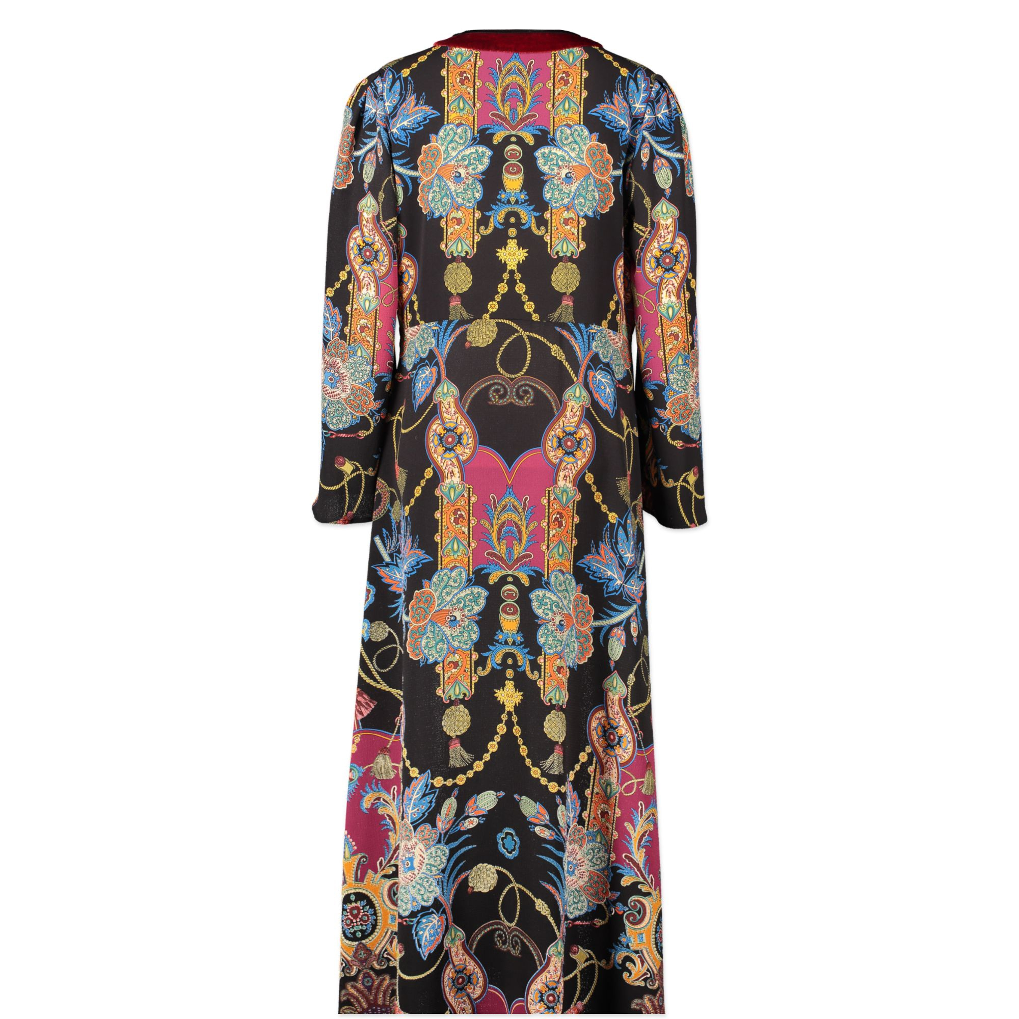 Authentic second-hand vintage Etro Multicolor Velvet V-Neck Dress - Size 46 buy online webshop LabelLOV