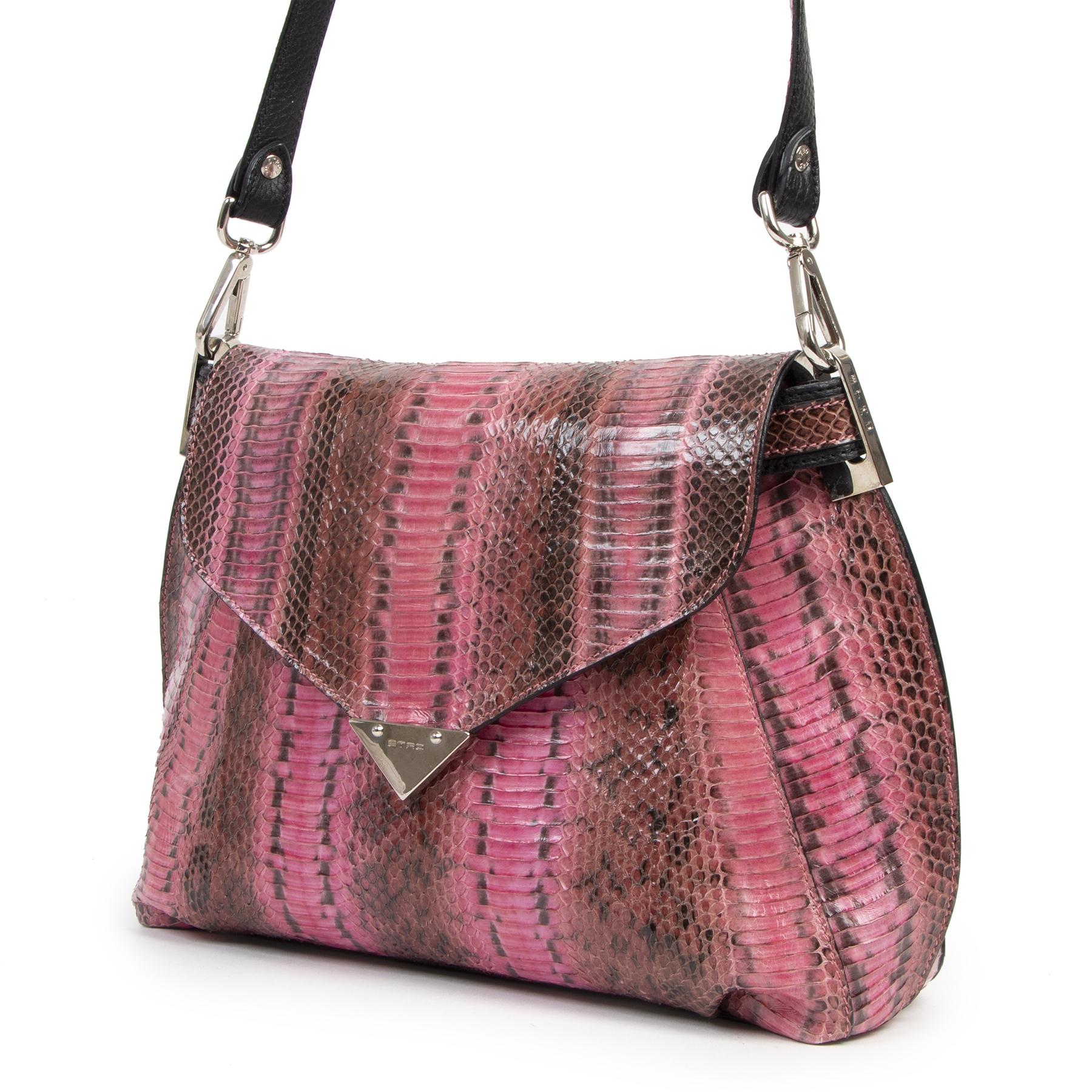 Authentieke tweedehands vintage Etro Pink Python Crossbody Bag koop online webshop LabelLOV