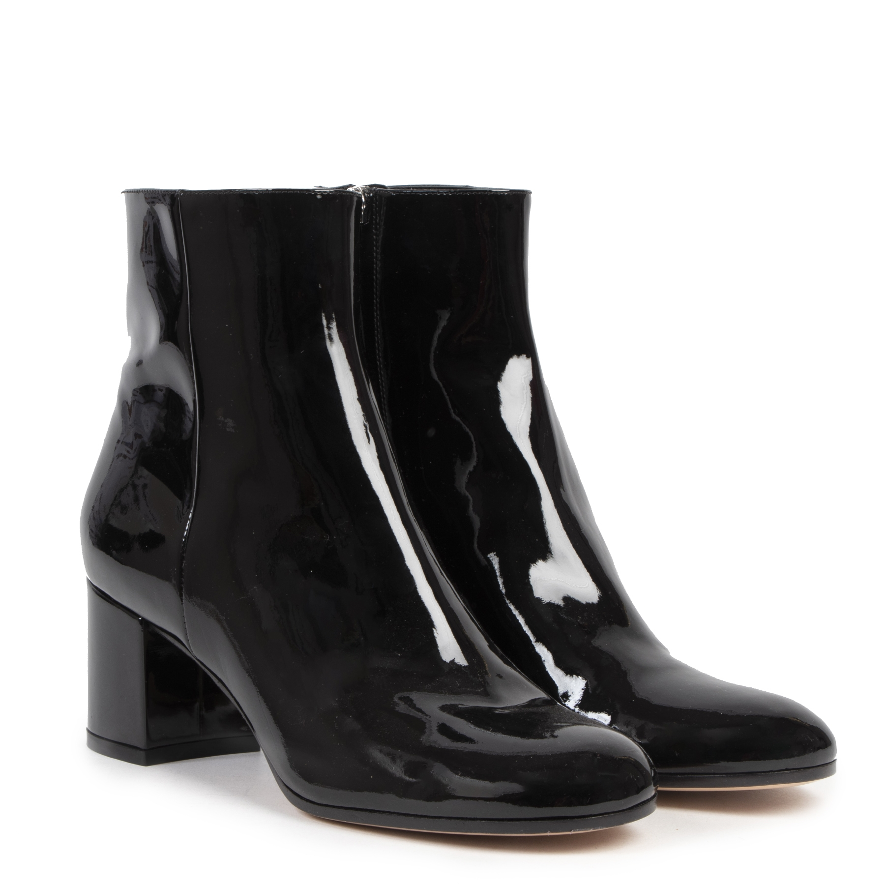 Gianvito Rossi Black Patent Leather Ankle Boots - Size 39,5