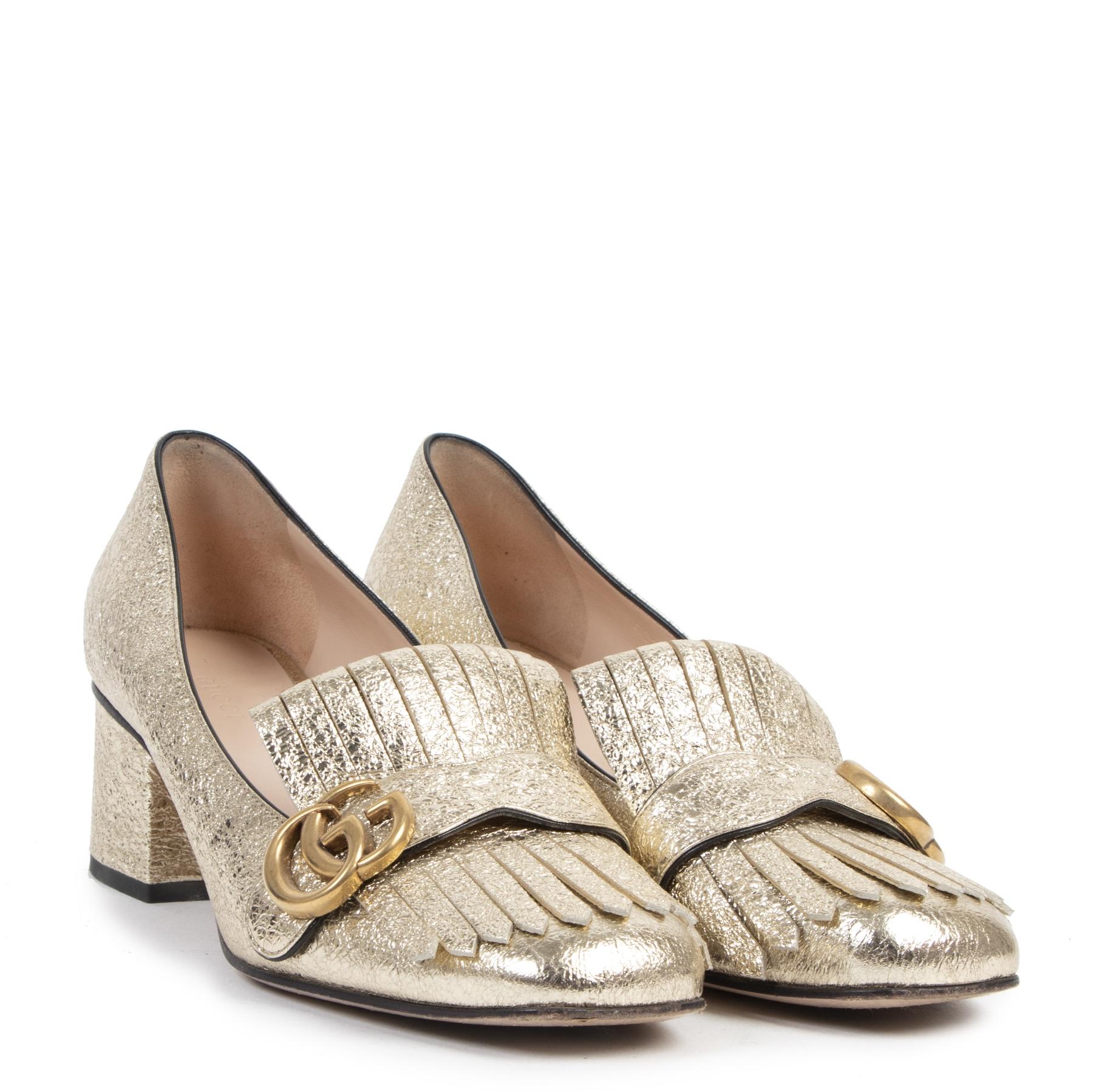 Authentieke tweedehands vintage Gucci Gold Marmont Leather Loafer Pumps - Size 39 koop online webshop LabelLOV