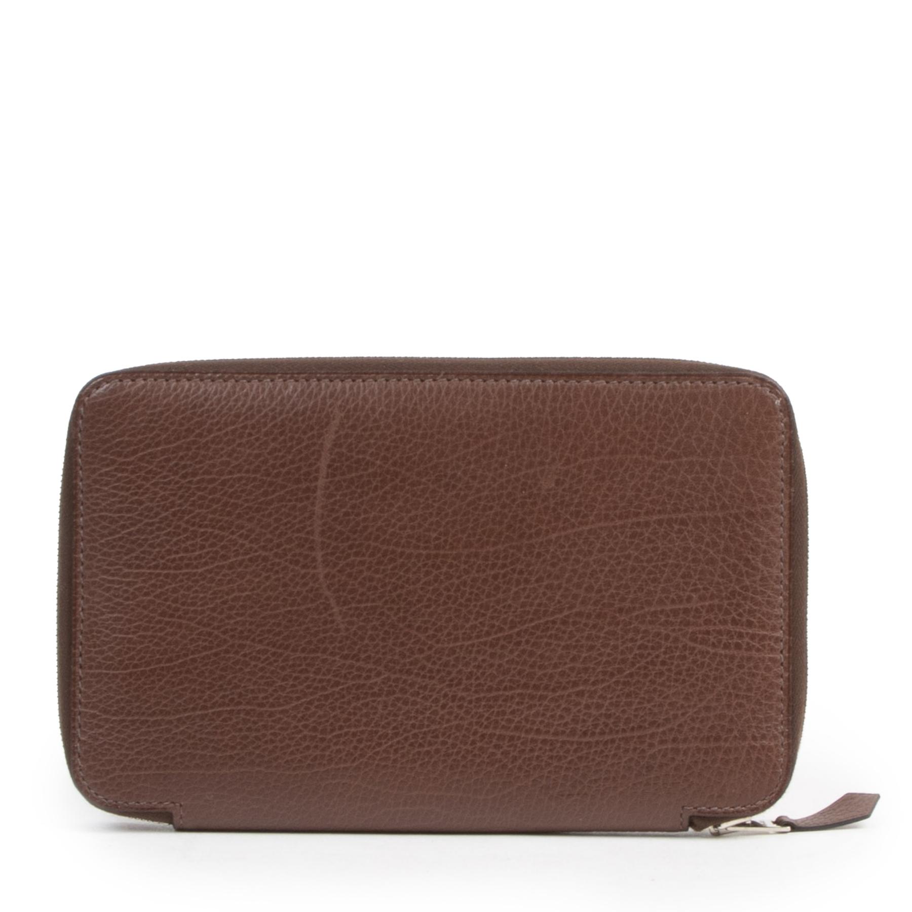 Authentic secondhand Hermès Brown Leather Agenda Cover designer bags fashion luxury vintage webshop safe secure online shopping high end brands