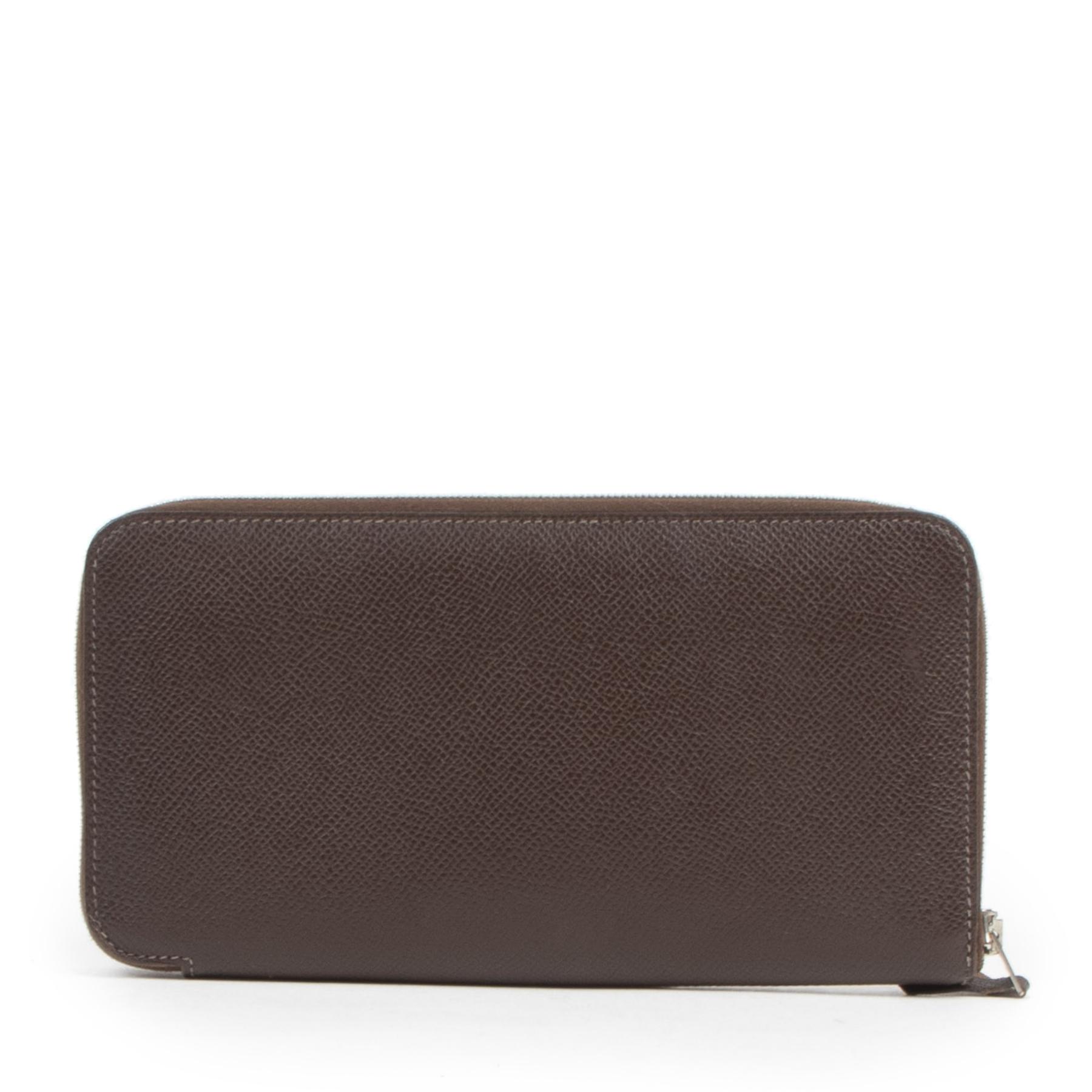 Authentic secondhand Hermes Brown Epsom Leather Azap Wallet designer accessories fashion luxury vintage webshop safe secure online shopping