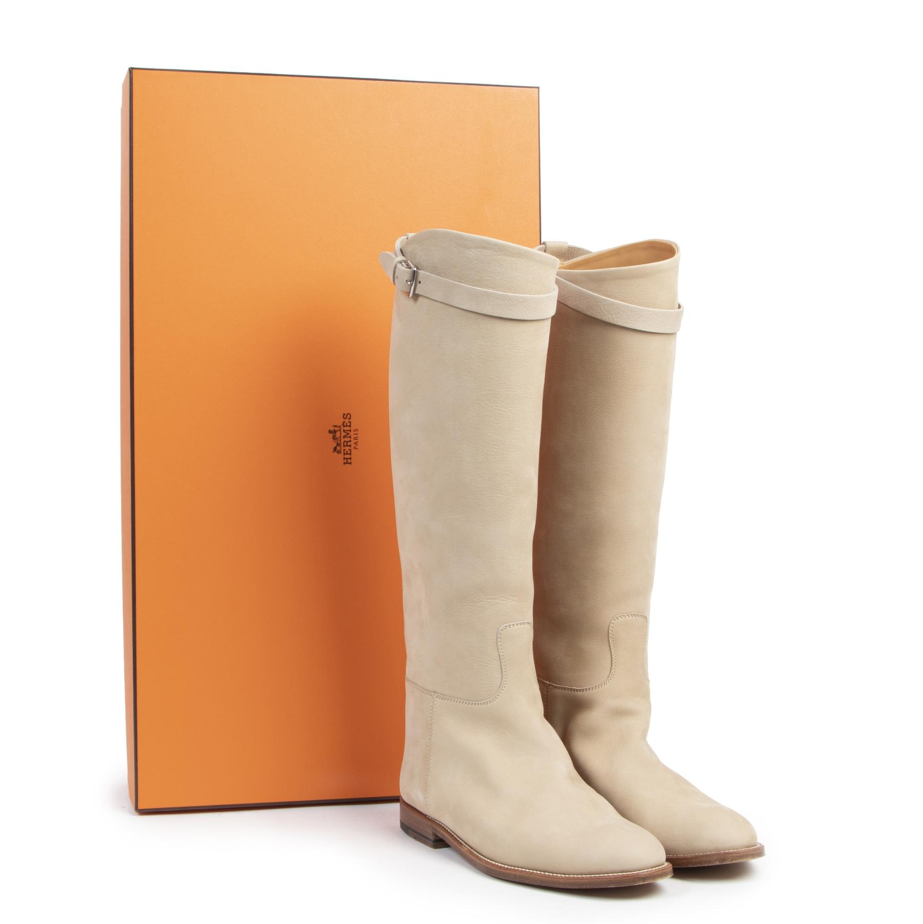 Authentieke tweedehands vintage Hermès Ecru Nubuck Jumping Riding Boots - Size 38 koop online webshop LabelLOV