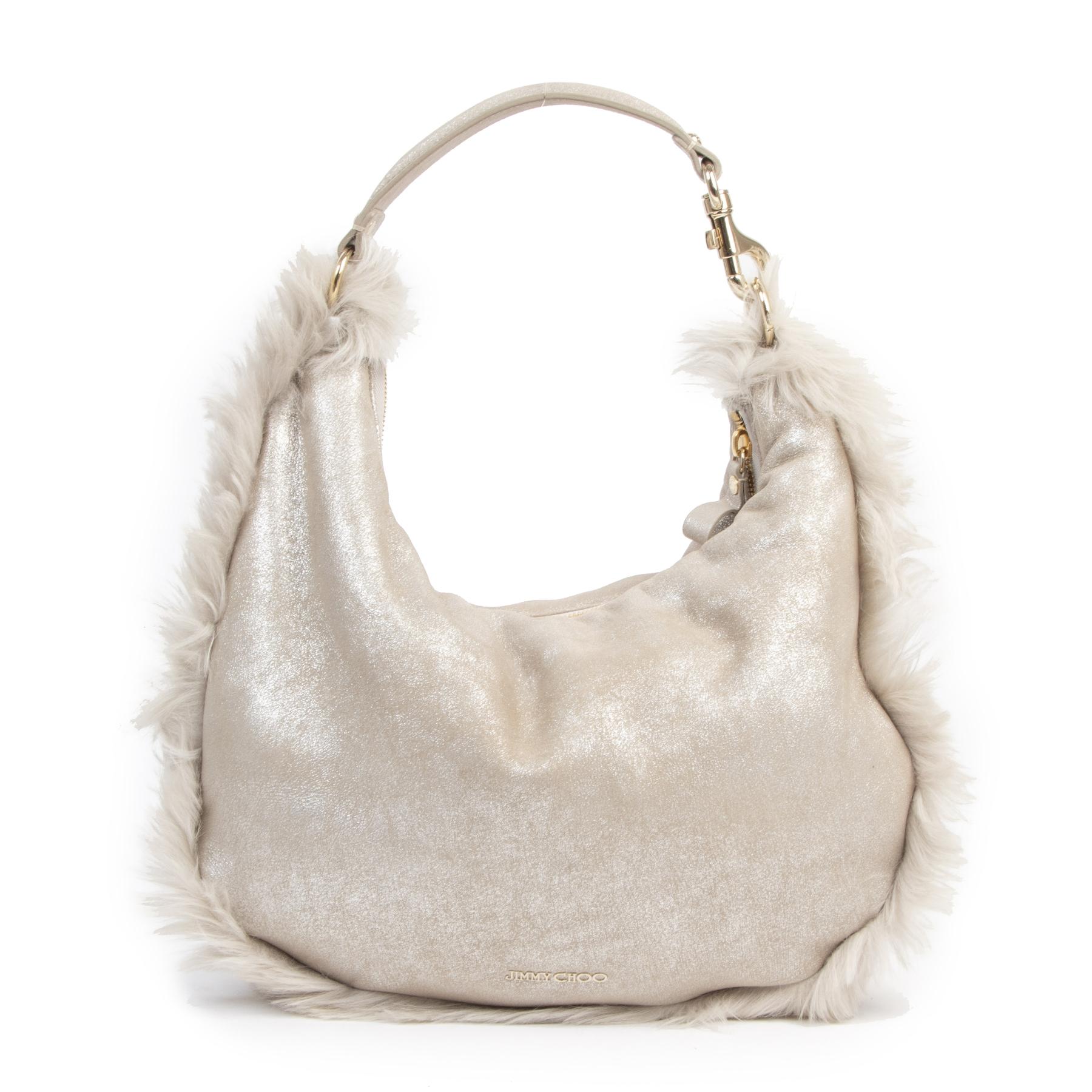 Authentieke Tweedehands Jimmy Choo Beige Leather Fur Hobo Bag juiste prijs veilig online shoppen luxe merken webshop winkelen Antwerpen België mode fashion