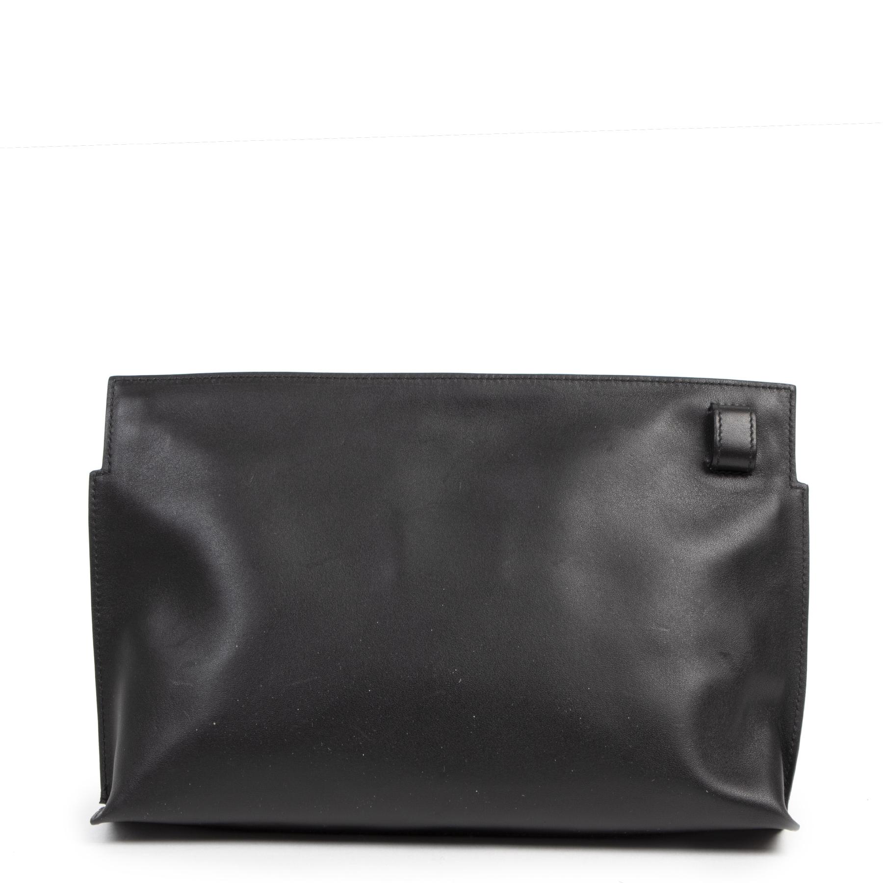 Authentieke tweedehands vintage Loewe Black T Pouch Medium koop online webshop LabelLOV