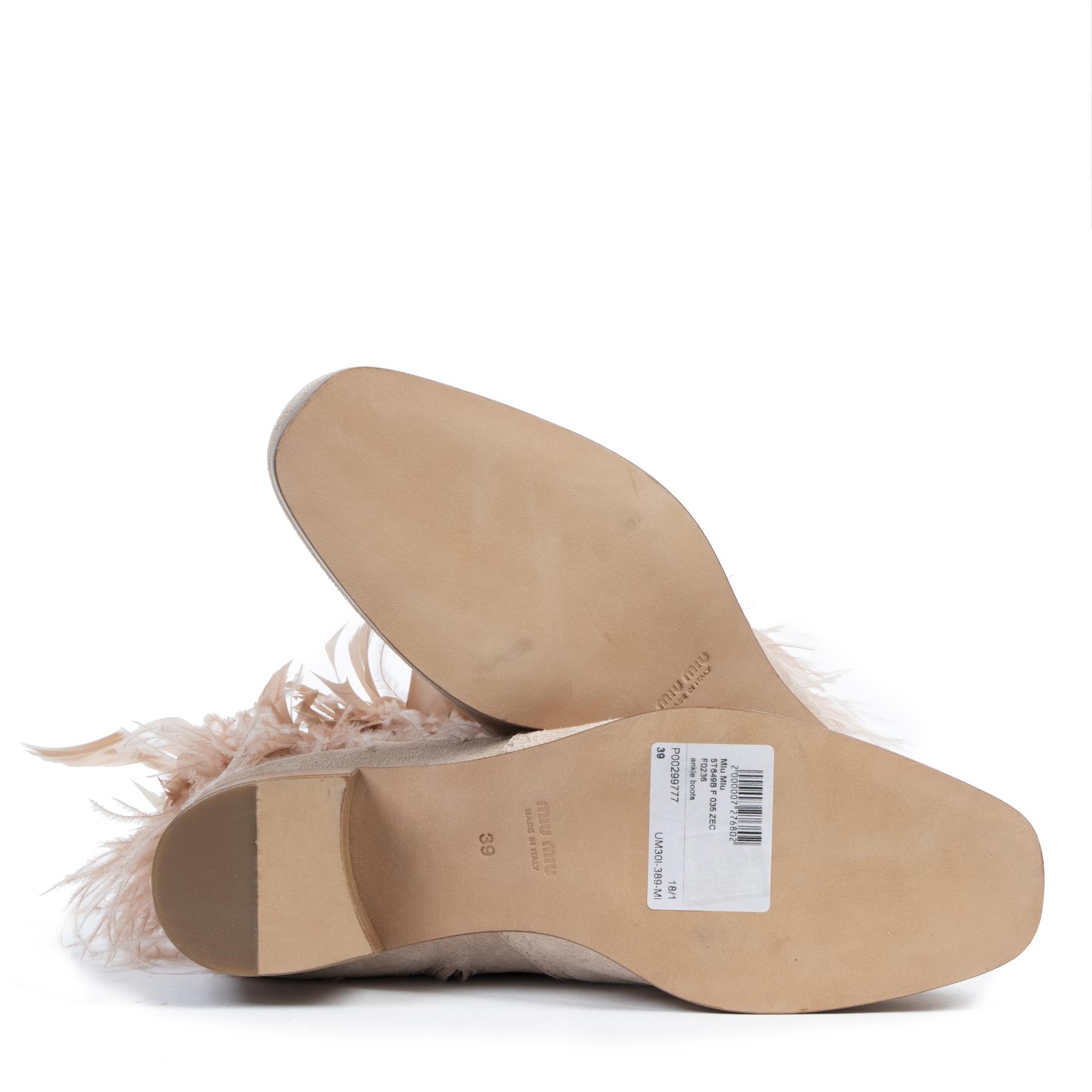 Authentique seconde-main vintage Miu Miu Feather-trimmed Suede Ankle Boots - Size 39 achète en ligne webshop LabelLOV