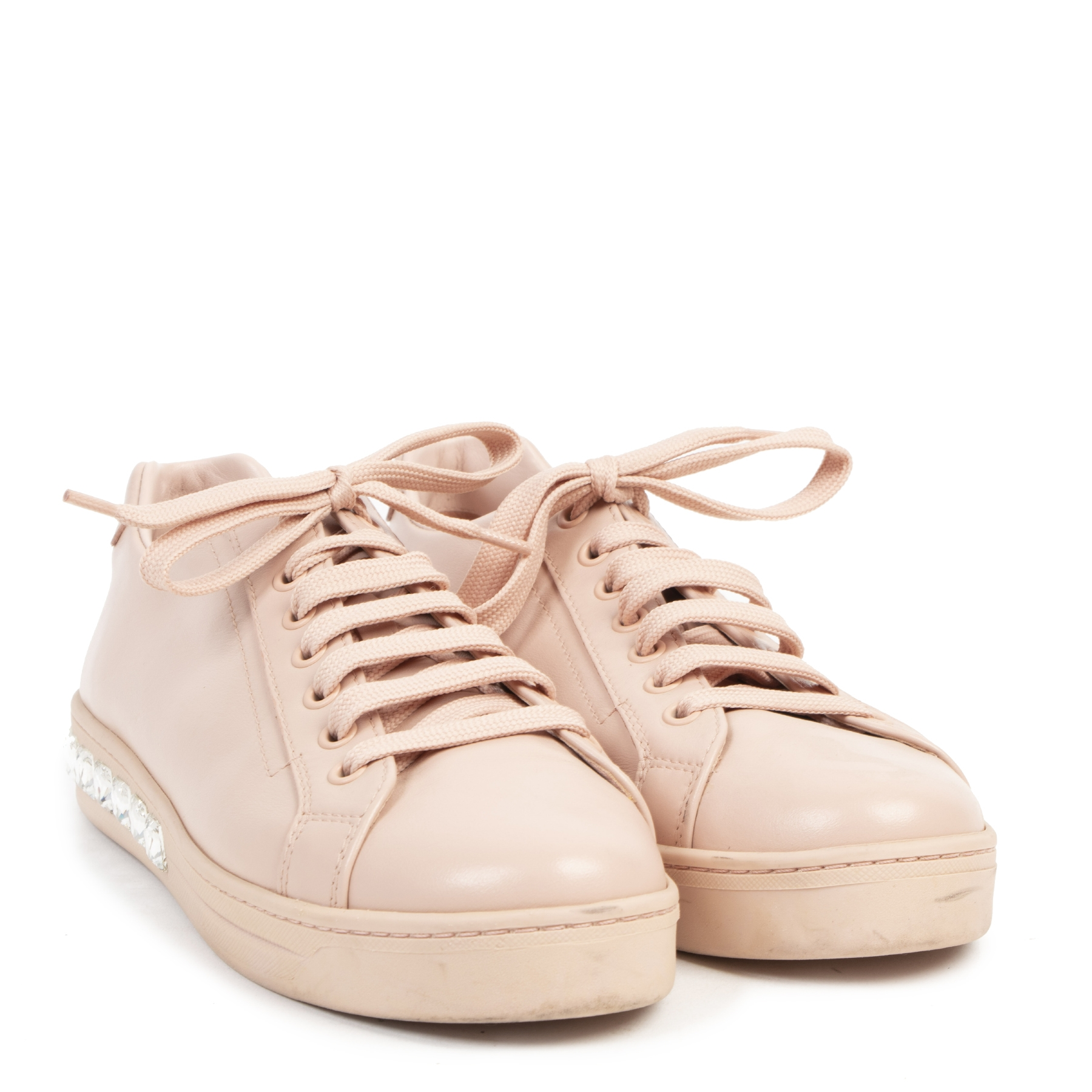 Authentieke tweedehands vintage Prada Pink Leather Sneaker With Diamonds - Size 38,5 koop online webshop LabelLOV