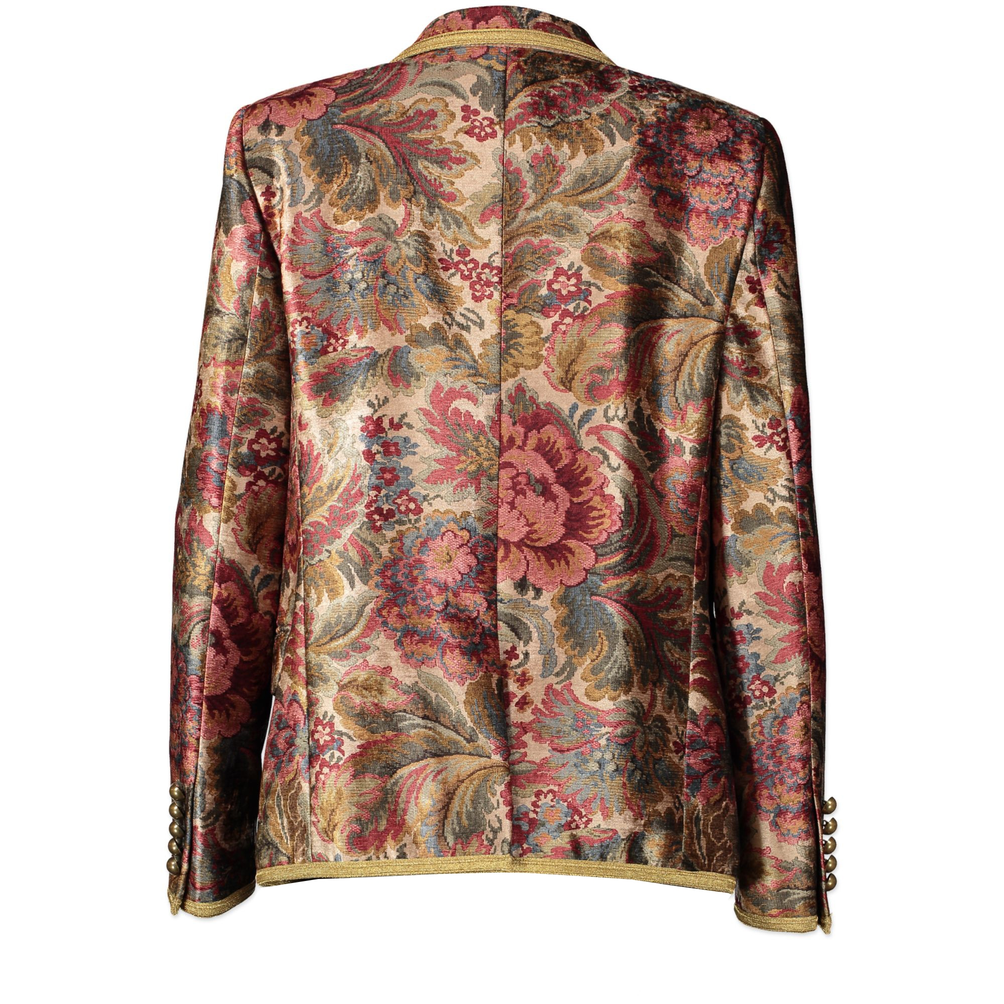 Saint Laurent Jacquard Floral Gold Trim Blazer