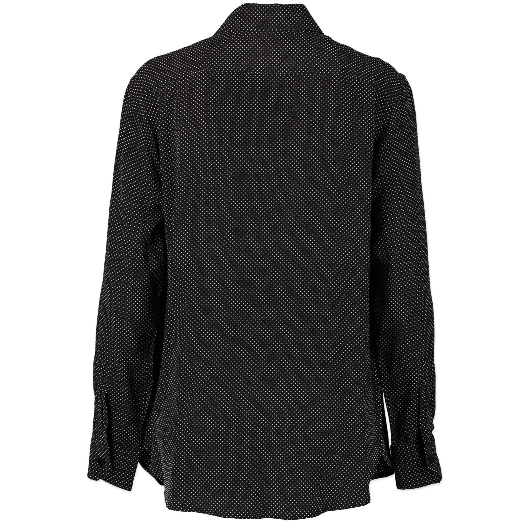 Authentieke Tweedehands Saint Laurent Dotted Black And White Blouse - Size FR 42 juiste prijs veilig online shoppen luxe merken webshop winkelen Antwerpen België mode fashion