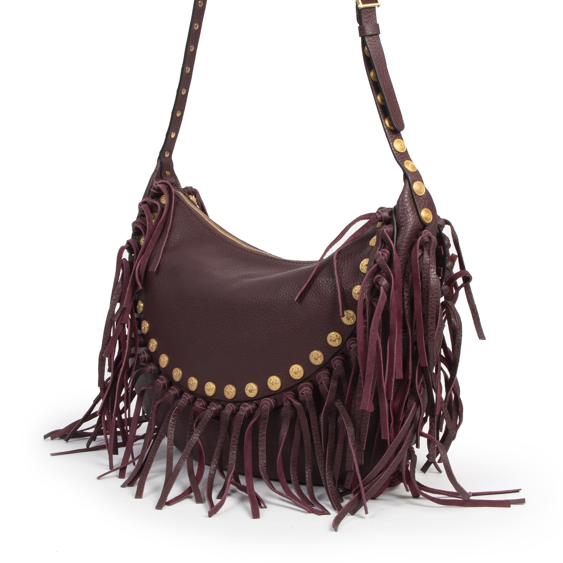 Valentino Purple C-Rockee Fringe Bag we buy and sell your authentic designer bags online.