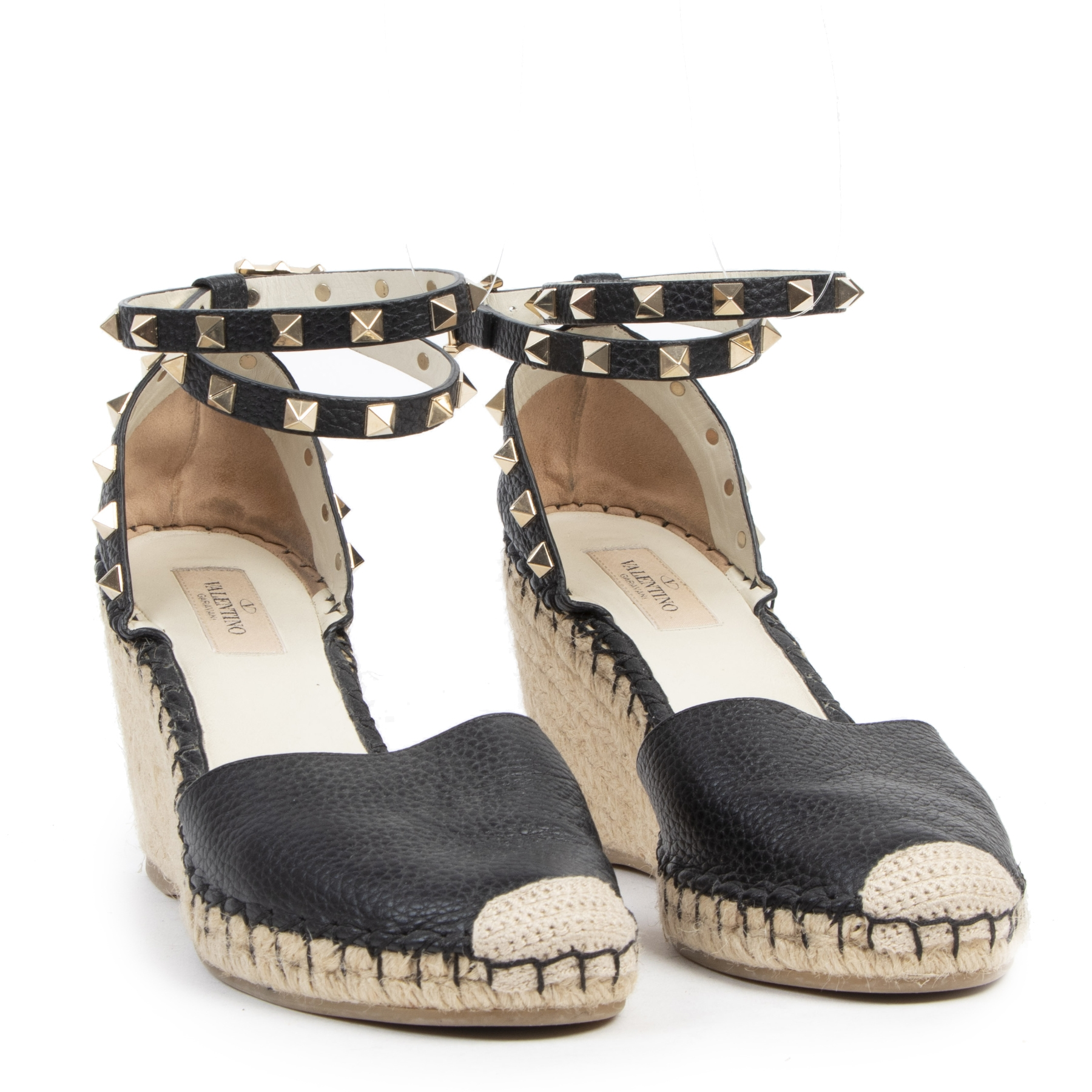 Authentic secondhand Valentino Rockstud Double Grainy Calfskin Leather Wedge Espadrille - Size 39 designer shoes luxury vintage webshop fashion designer high end brands safe secure online shopping