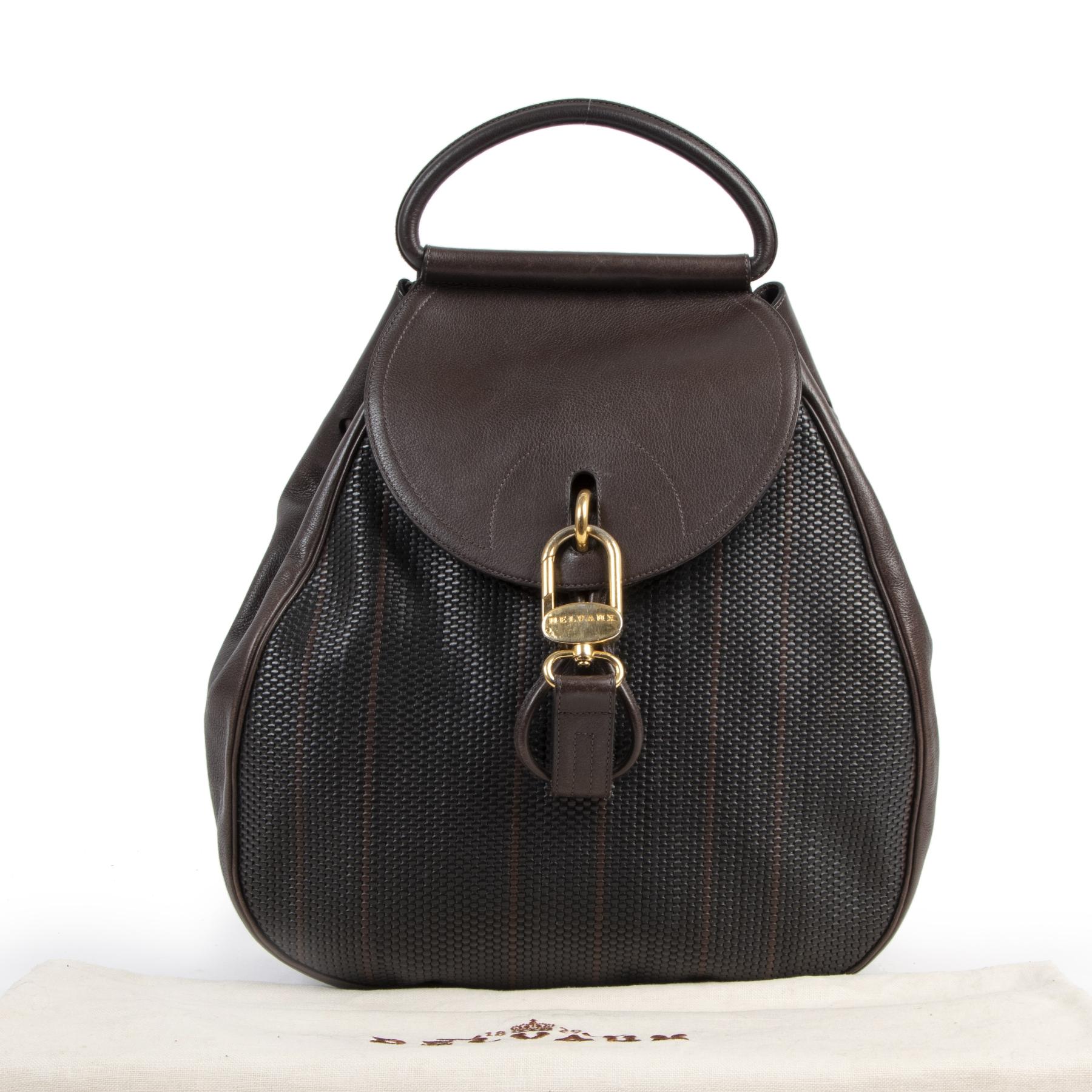 Authentique seconde-main vintage Delvaux Cerceau Toile De Cuir Backpack achète en ligne webshop LabelLOV