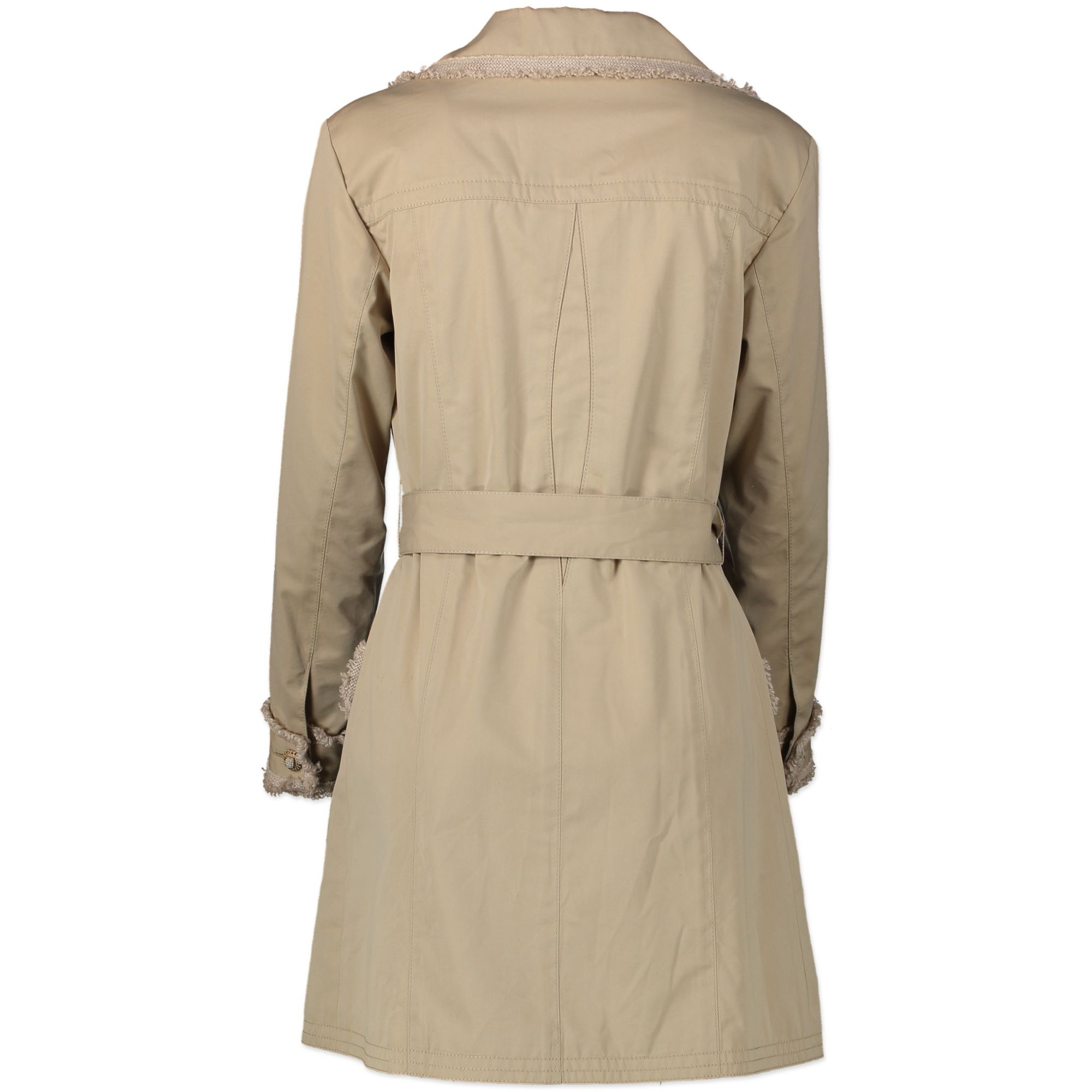 Chanel Beige Tweed Trimmed Trench Coat for sale online
