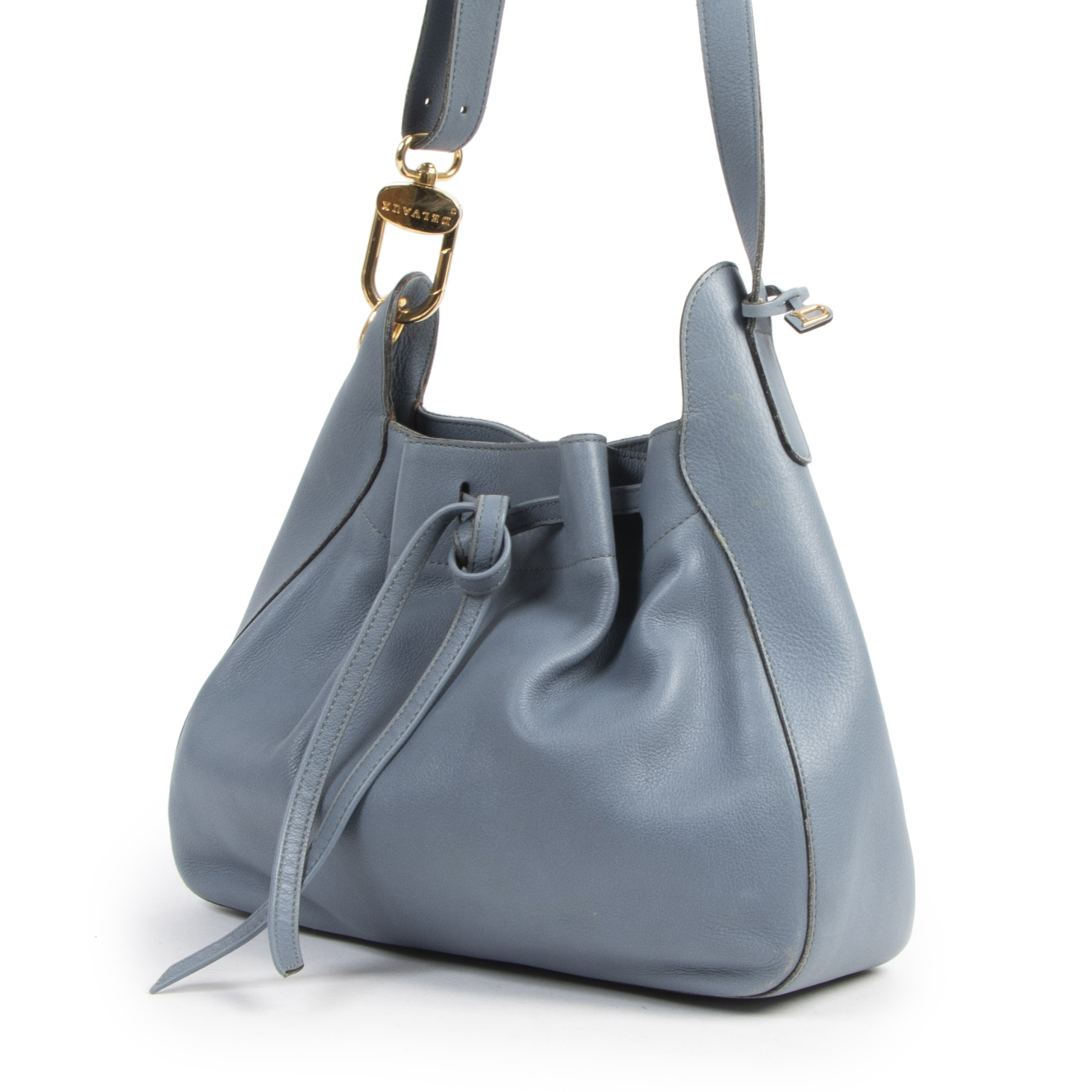 Authentique seconde-main vintage Delvaux Blue Leather Drawstring Tote achète en ligne webshop LabelLOV