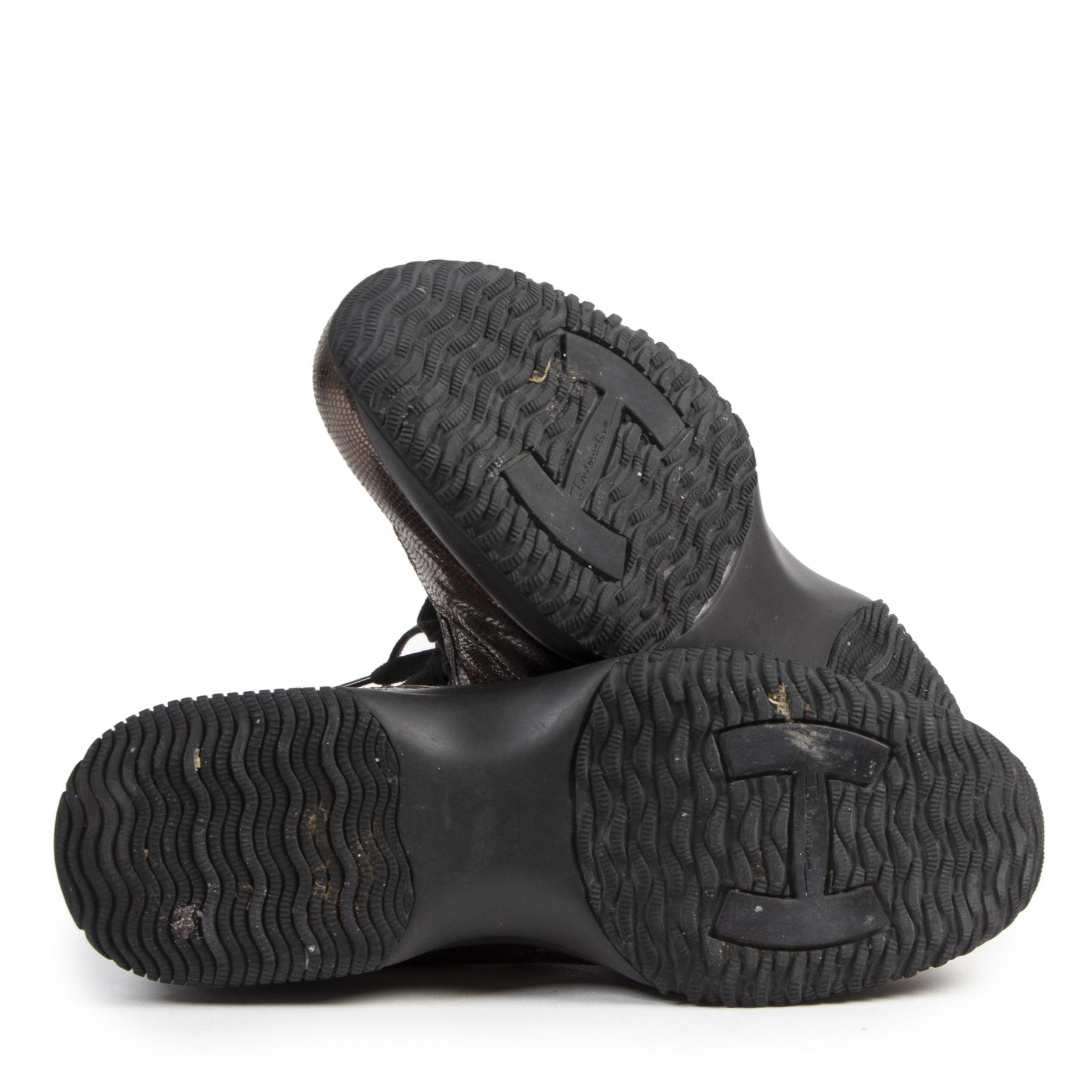 Authentieke tweedehands vintage Hogan Metallic Snake-effect Interactive Sneakers - Size 40 koop online webshop LabelLOV