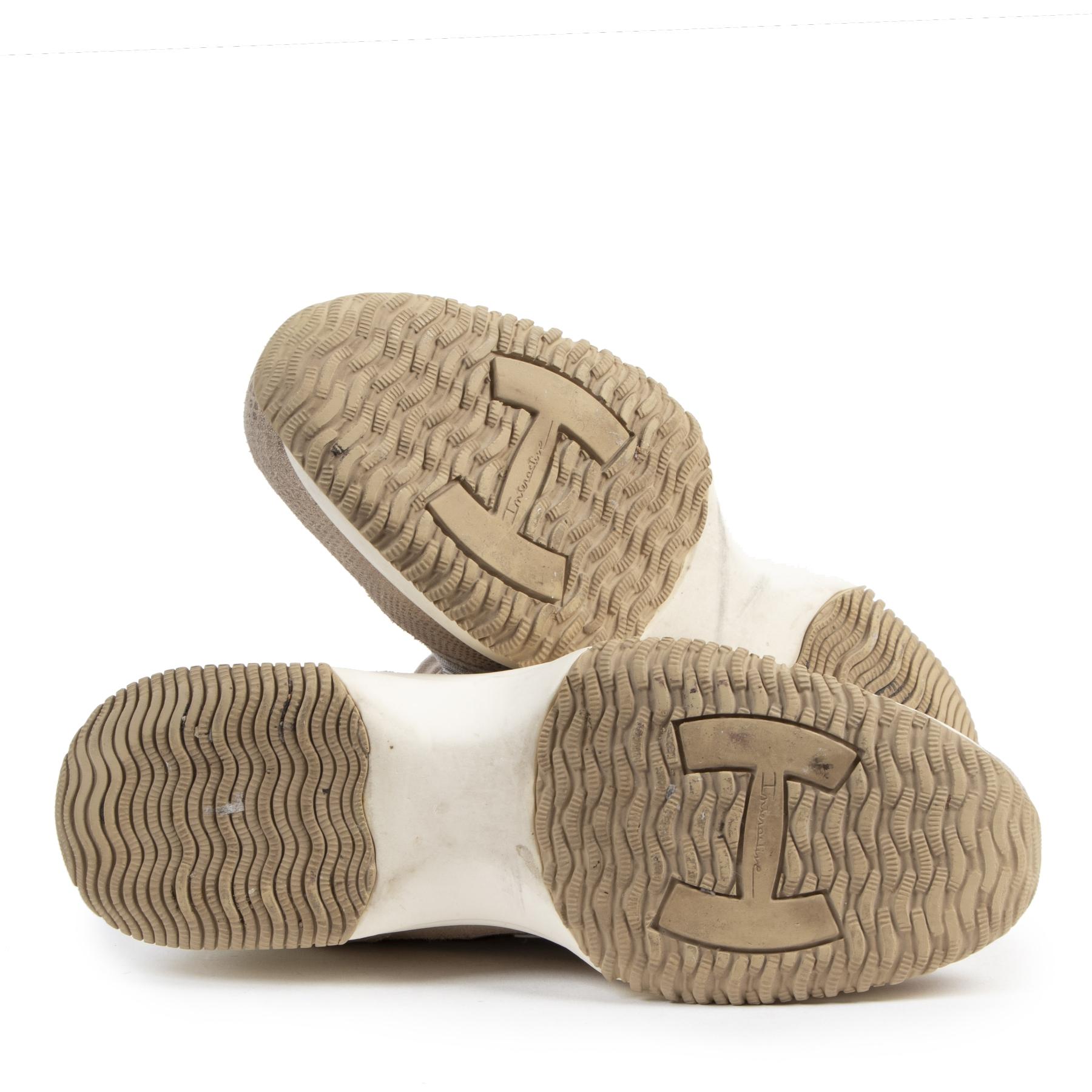 Authentieke tweedehands vintage Hogan Glitter Beige Suede Sneakers - Size 39,5 koop online webshop LabelLOV
