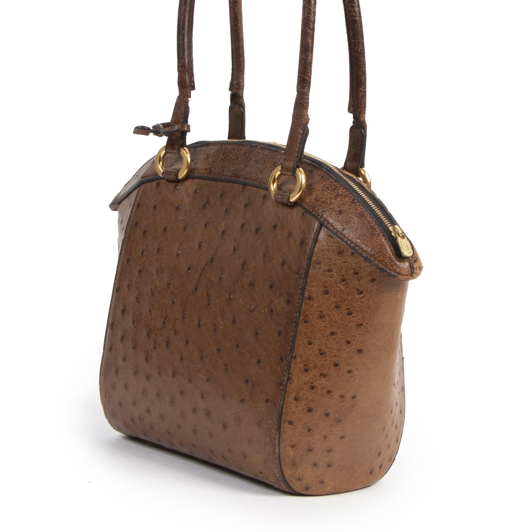 Delvaux Brown Ostrich Leather Bag te koop aan de beste prijs