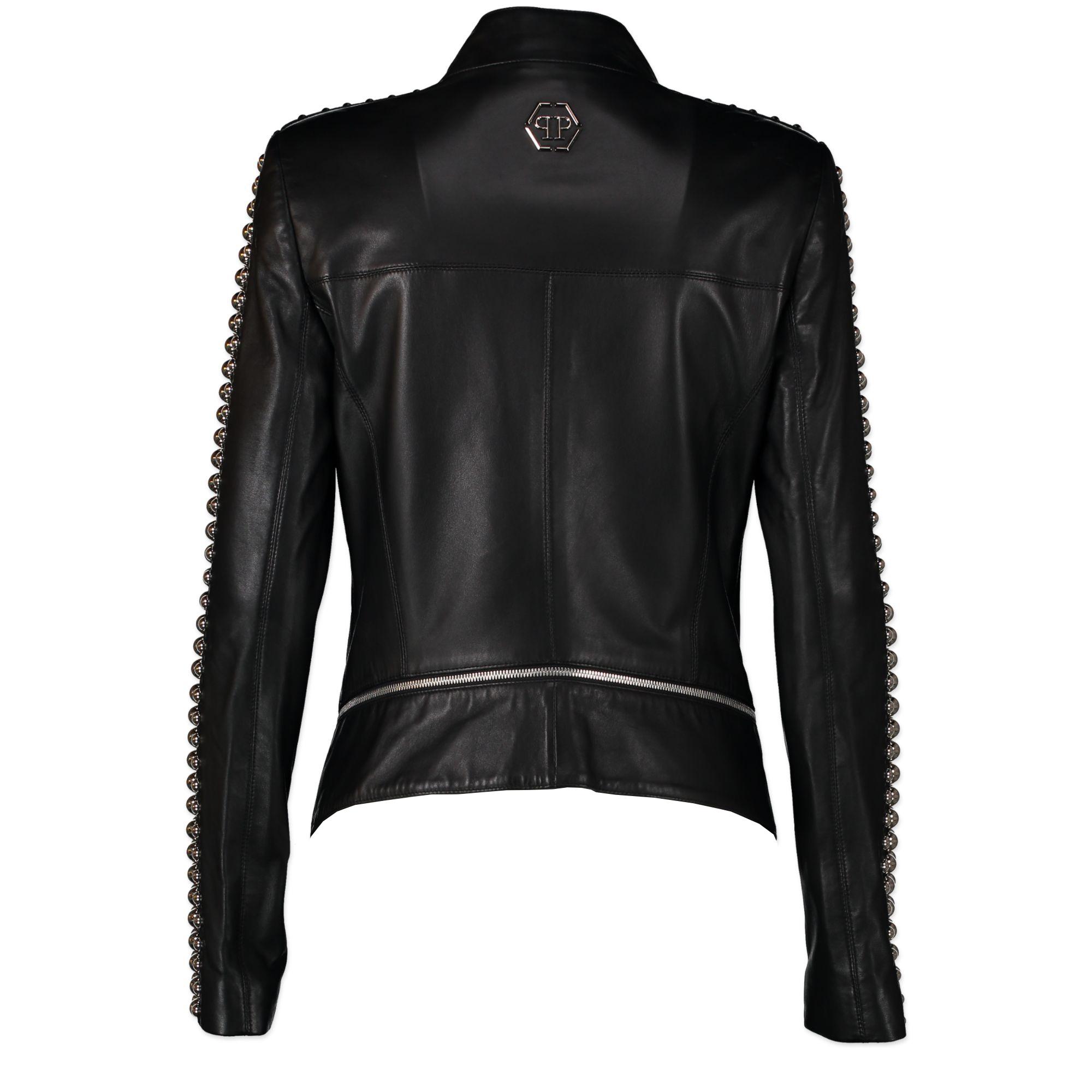 Authentique seconde-main vintage Phillip Plein Leather Jacket With Studs - Size M achète en ligne webshop LabelLOV