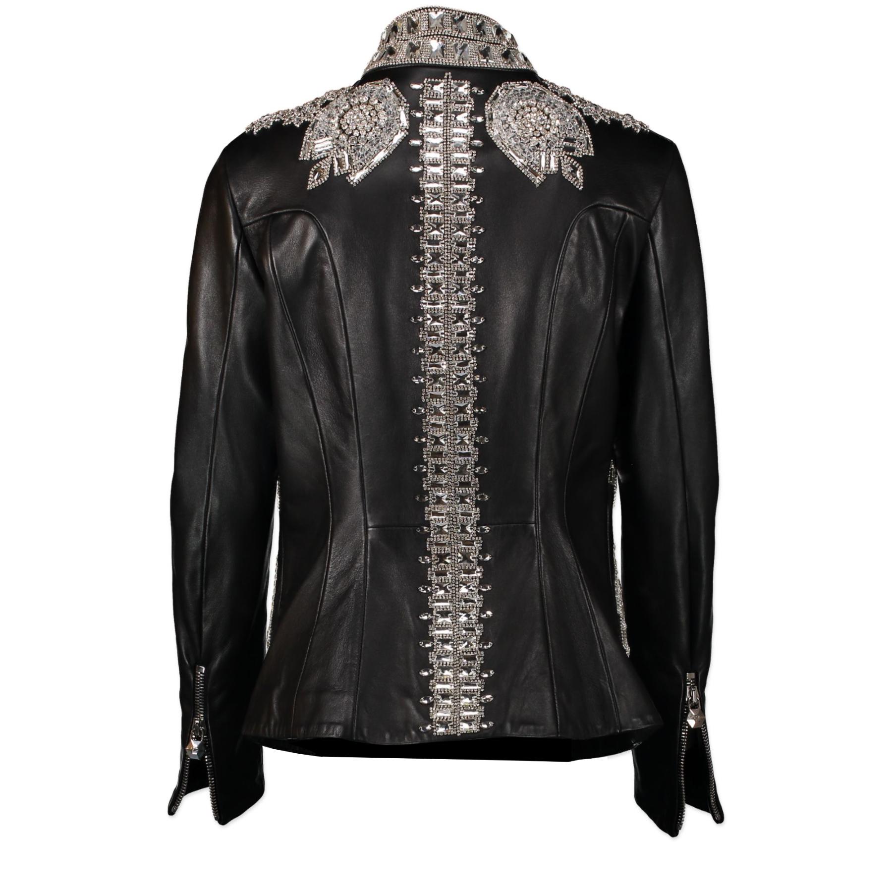 Authentique seconde-main vintage Phillipe Plein Black Leather Vogue Jacket Limited Edition - Size M achète en ligne webshop LabelLOV