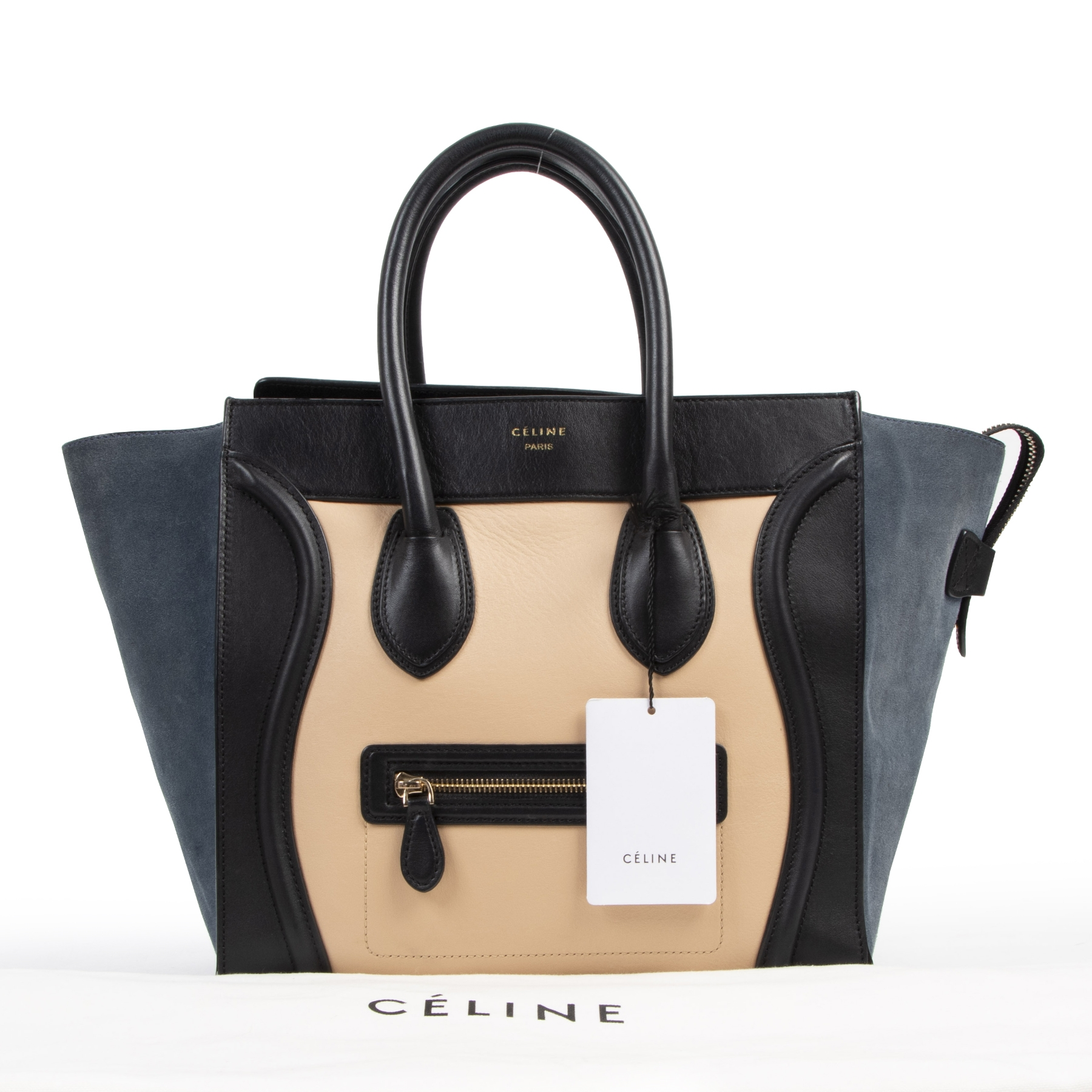 Authentieke tweedehands vintage Céline Tri-Color Leather Mini Luggage Tote Bag koop online webshop LabelLOV