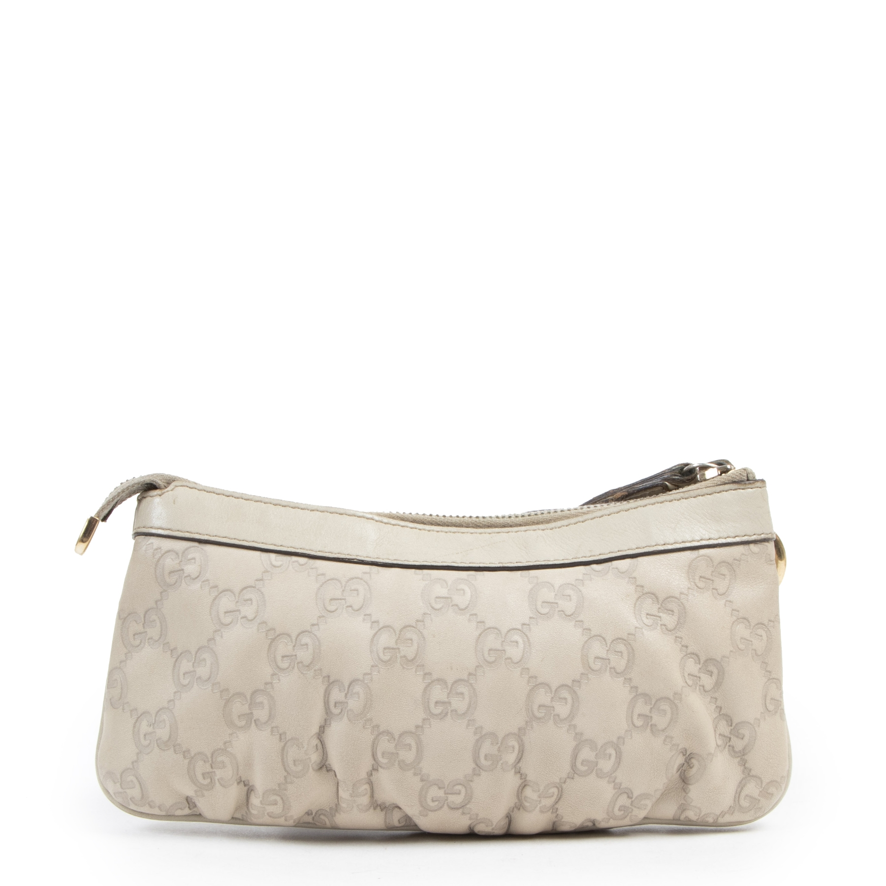 Authentic second-hand vintage Gucci Beige Leather Guccissima Wristlet Pochette buy online webshop LabelLOV