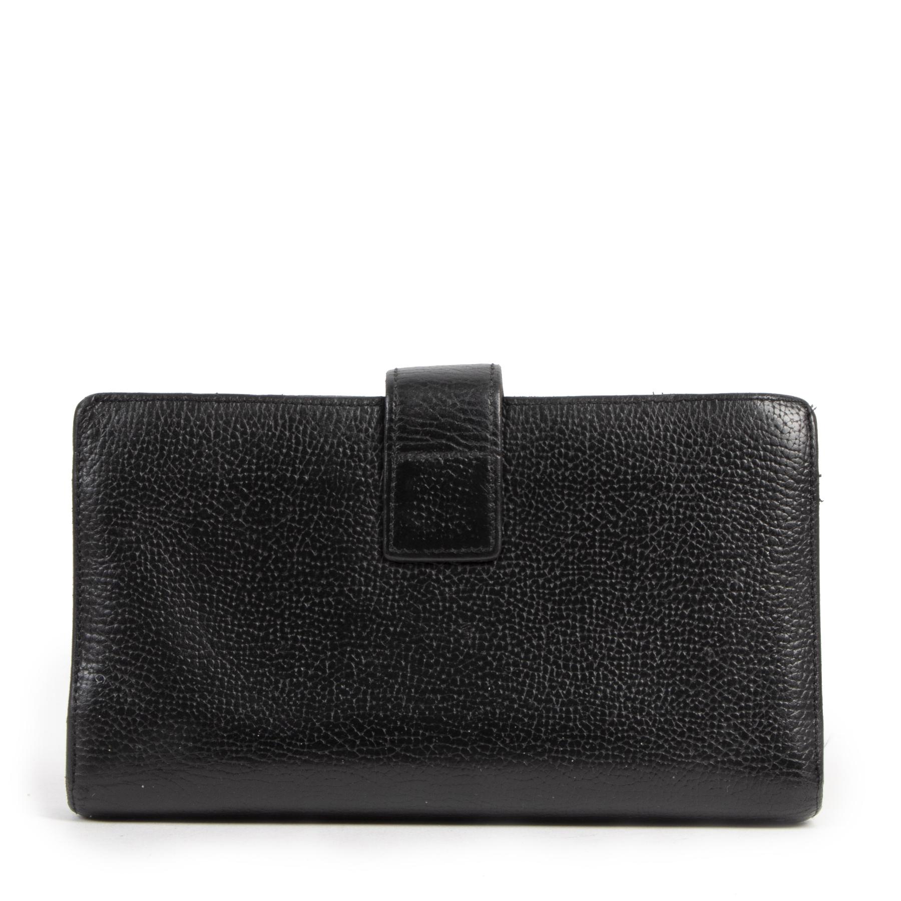 Authentique seconde-main vintage Delvaux Black Leather Wallet  achète en ligne webshop LabelLOV